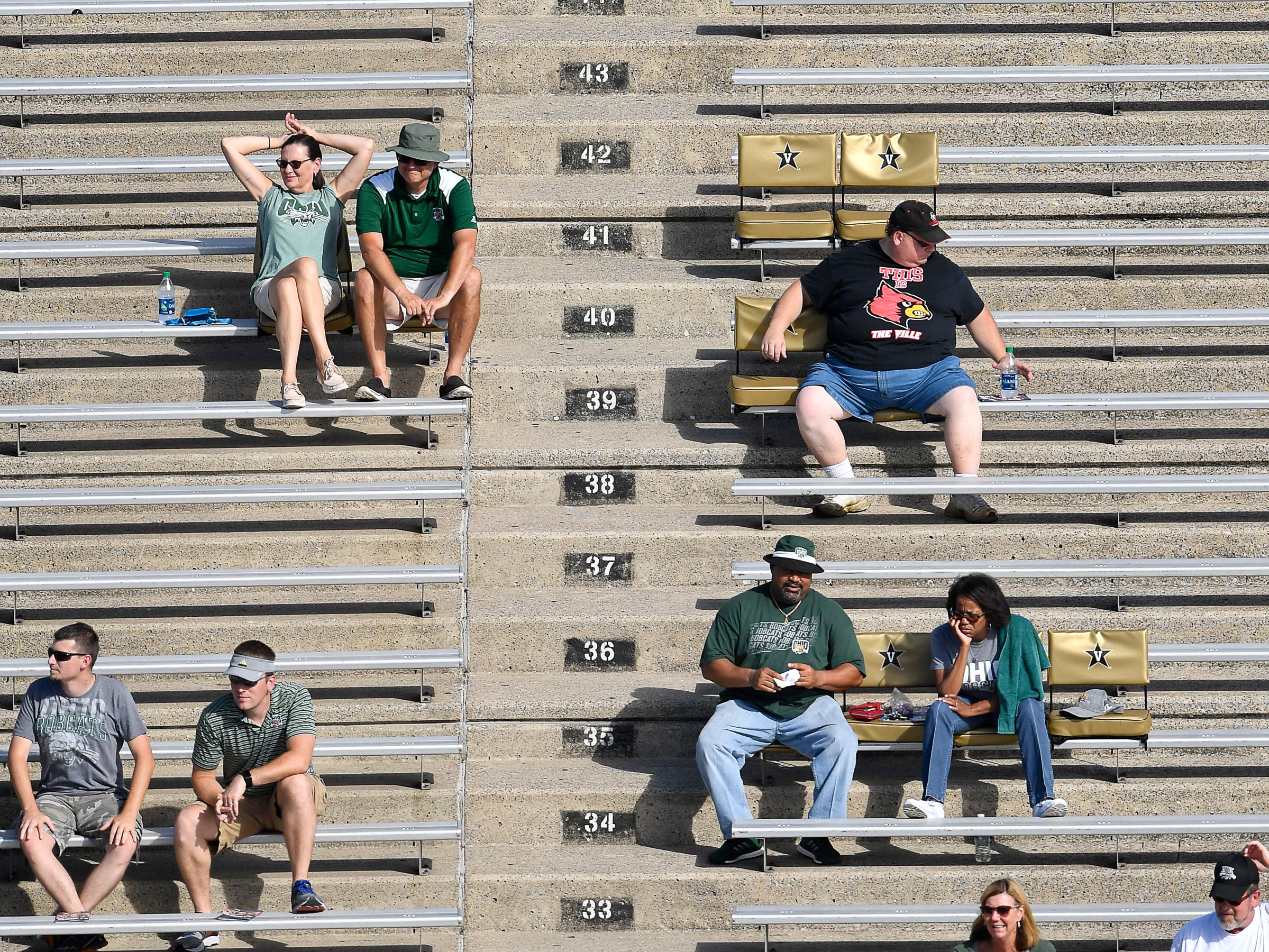 Ohio fans watch their game against Virginia at Vanderbilt Stadium Saturday, Sept. 15, 2018, in Nashville, Tenn. Their football game was moved from Virginia to Tennessee to avoid the effects of Hurricane Florence.
