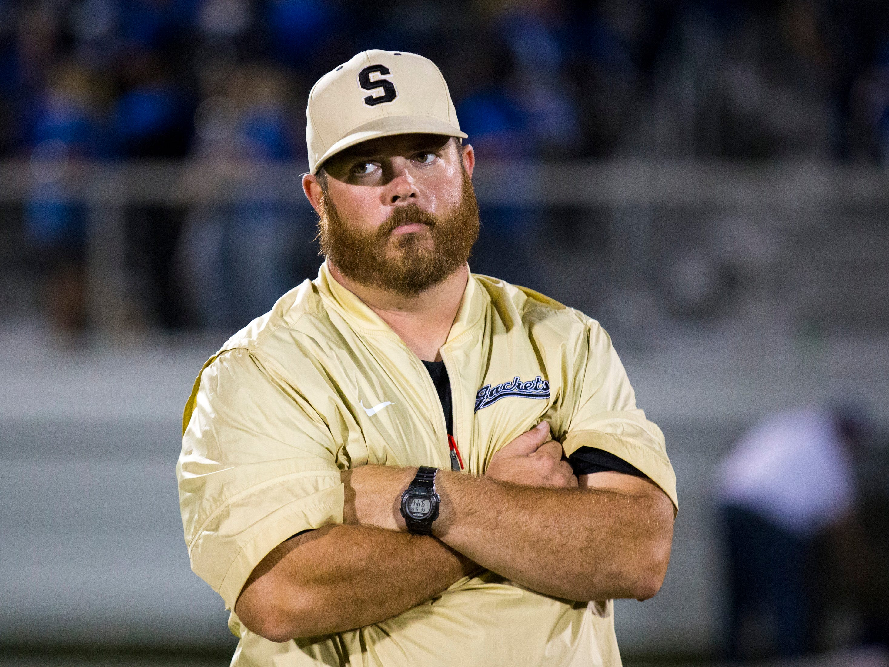 Springfield's head coach Dustin Wilson after Springfield's game against White House at Springfield High School in Springfield on Friday, Sept. 14, 2018.
