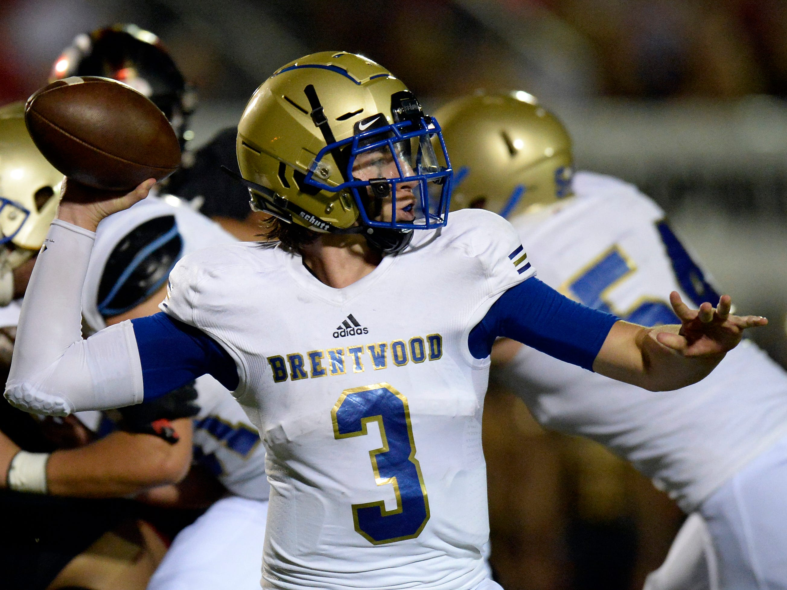 Brentwood quarterback Cade Granzow (3) passes against Ravenwood during the first half of an high school football game Friday, September 14, 2018, in Brentwood, Tenn.
