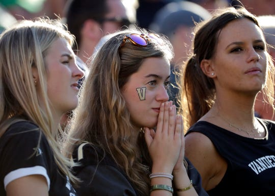 Vanderbilt fans react after wide receiver Kalija Lipscomb missed a catch late  against Notre Dame in South Bend, Ind., Saturday, Sept. 15, 2018.