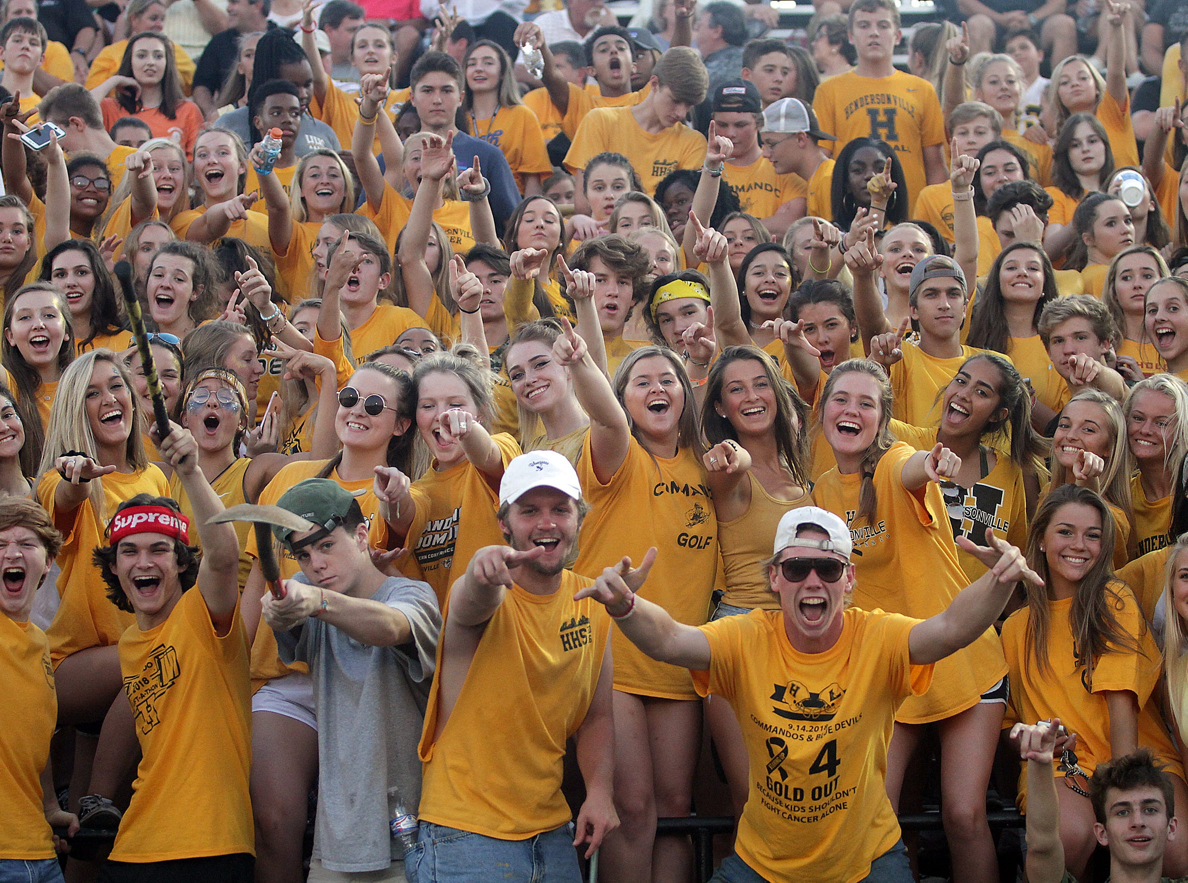 Hendersonville High students cheer on their team as they take on Lebanon on Friday, September 14, 2018.