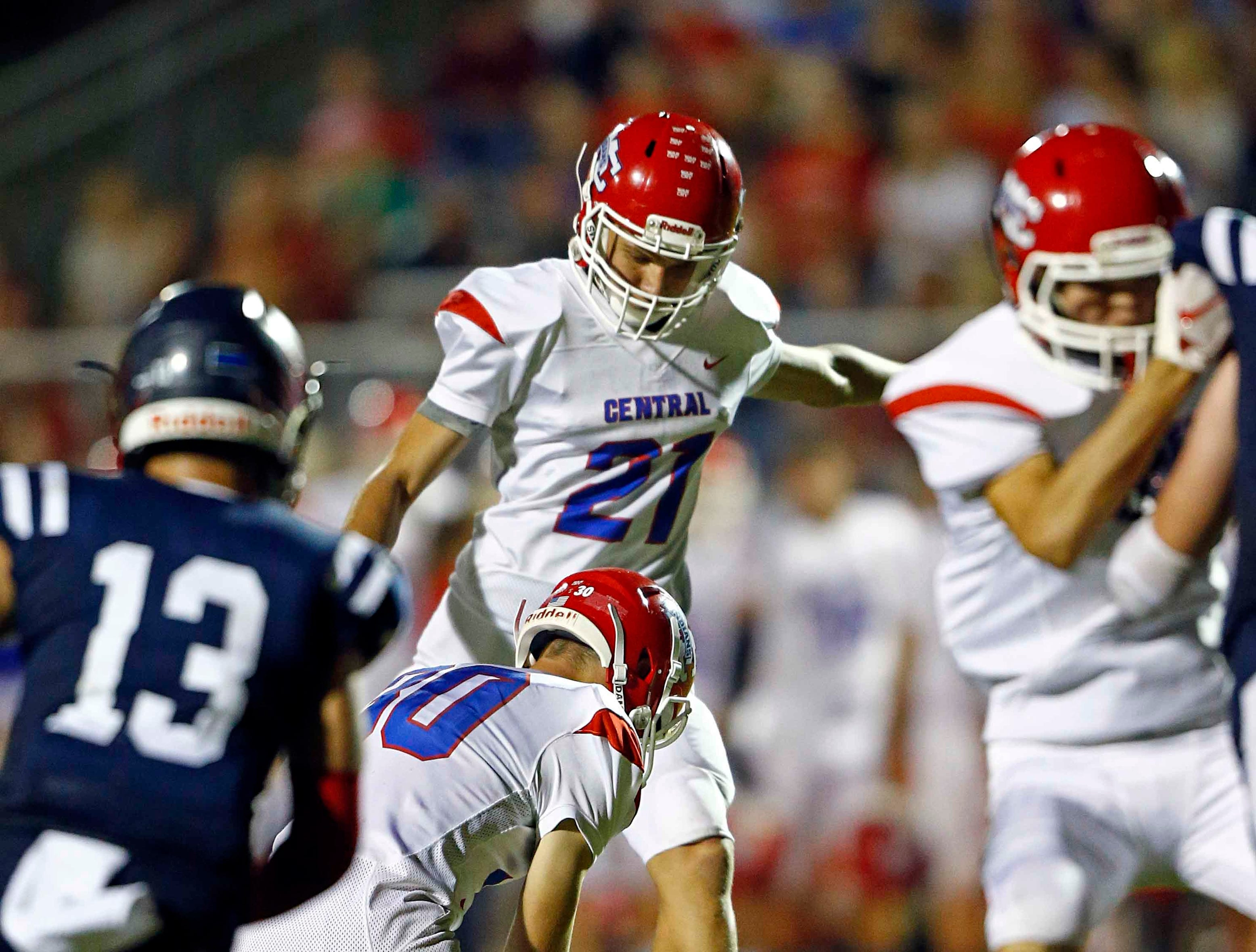 Montgomery Central's Lucas Schaffer (27) kicks a field goal during the game against Creek Wood Friday, Sept. 14, 2018, in Charlotte, Tenn.