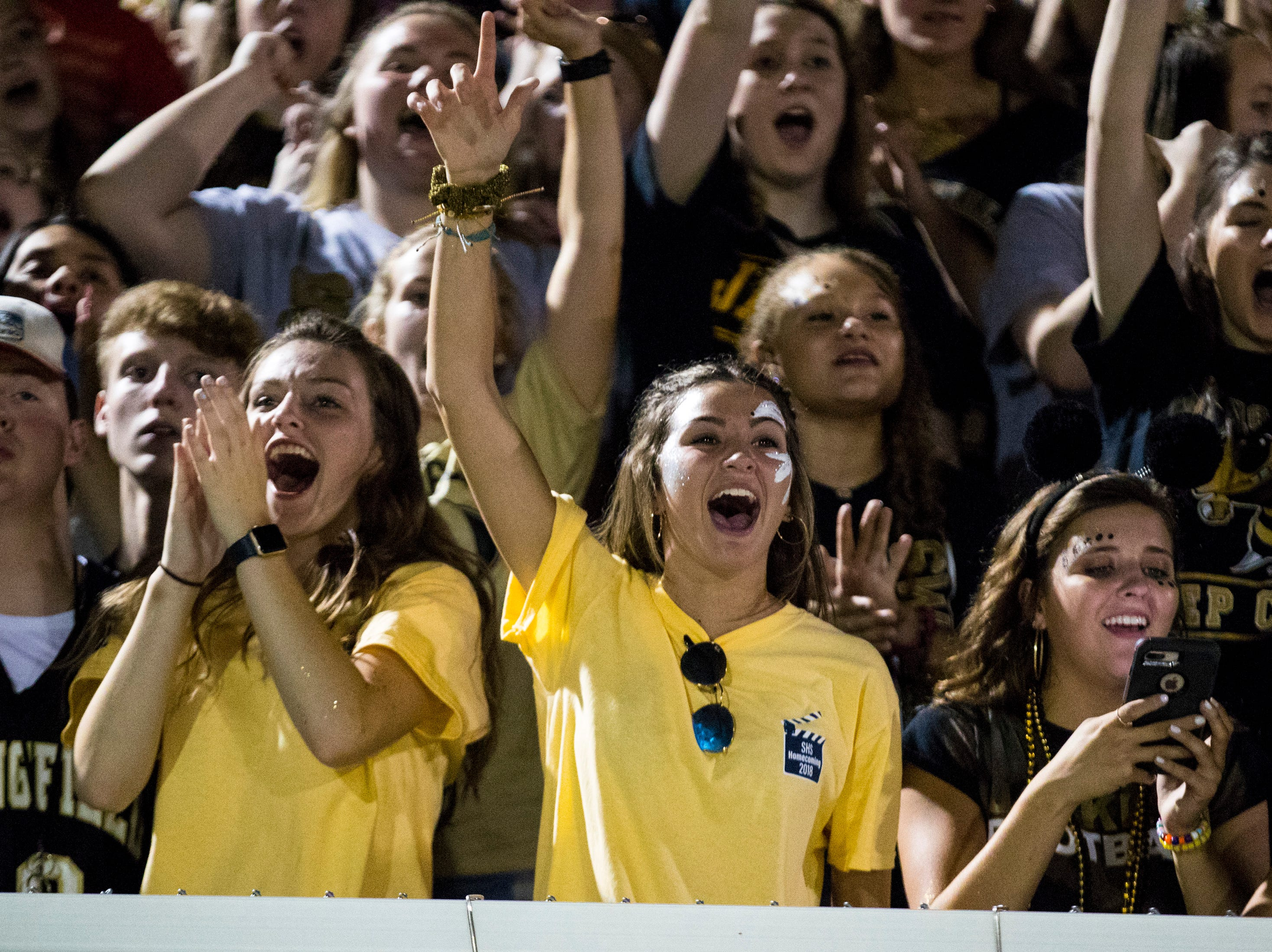 Springfield's student section cheers during Springfield's game against White House at Springfield High School in Springfield on Friday, Sept. 14, 2018.