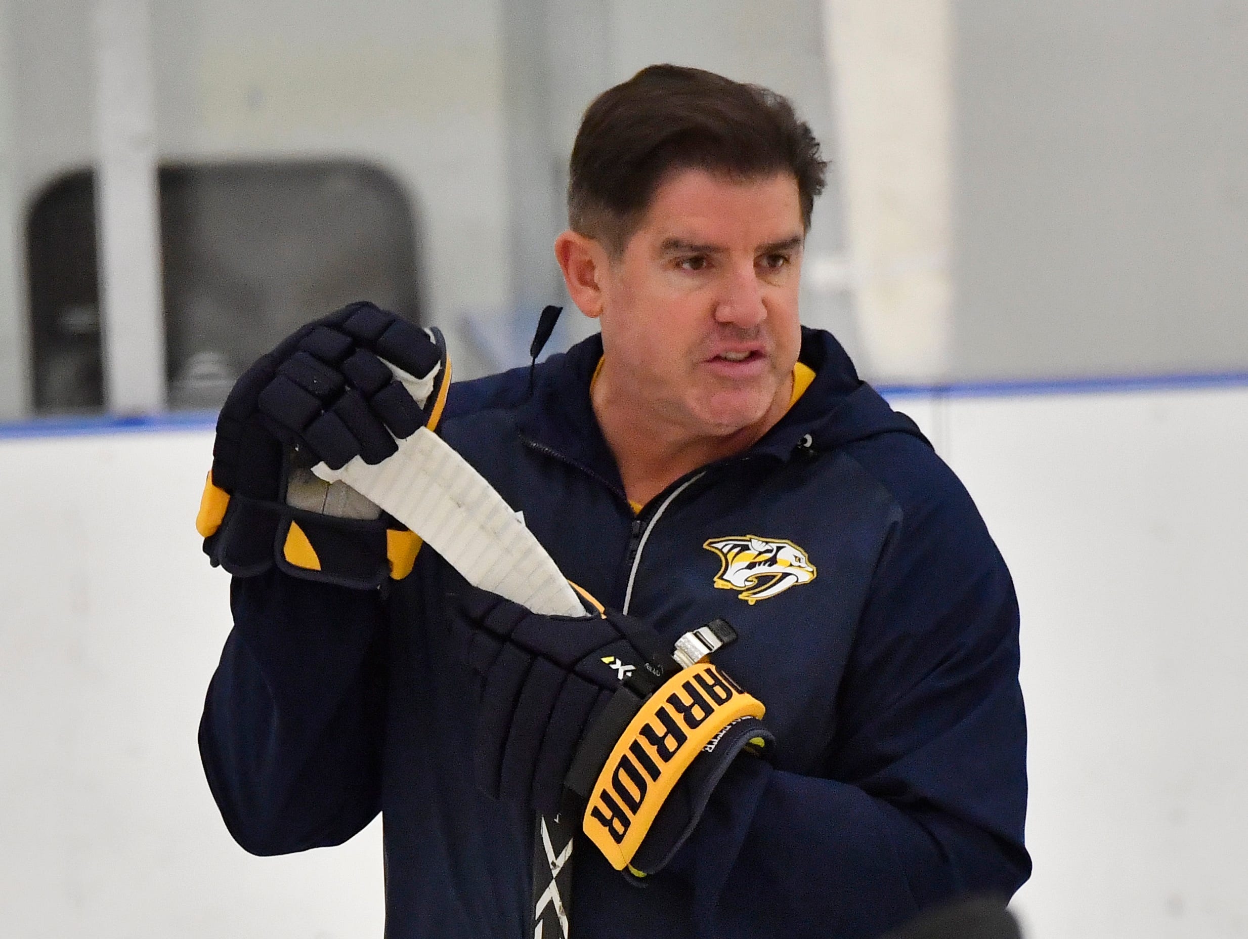 Predators head coach Peter Laviolette instructs his players during training camp at Centennial Sportsplex Saturday, Sept. 15, 2018, in Nashville, Tenn.