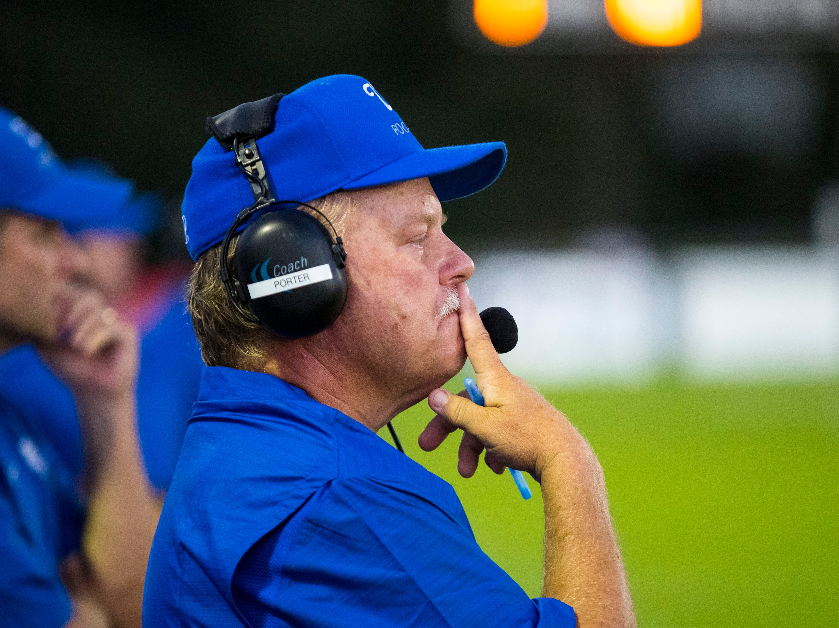 White House's head coach Jeff Porter during Springfield's game against White House at Springfield High School in Springfield on Friday, Sept. 14, 2018.