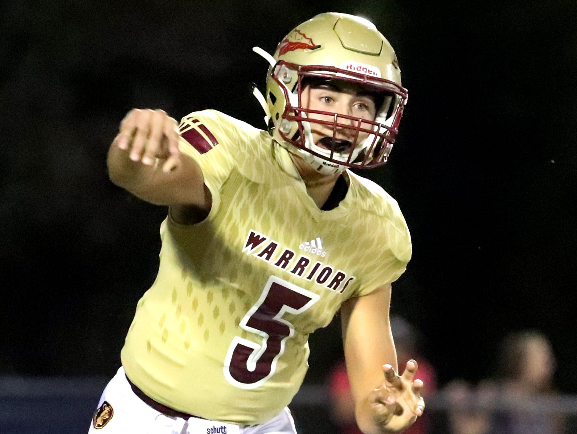 Riverdale's quarterback Taylor Yancey (5) passes the football during the game against Oakland at Riverdale during the Battle of the Boro on Friday, Sept. 14, 2018.