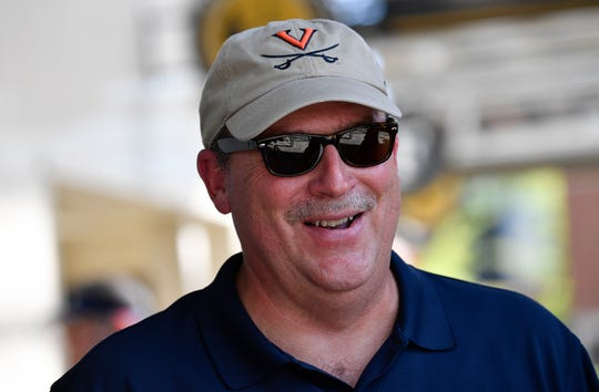 Virginia fan Jeff Pearson of South Carolina talks about getting out of the path of Hurricane Florence to come watch their son play against Ohio at Vanderbilt Stadium Saturday, Sept. 15, 2018, in Nashville, Tenn.