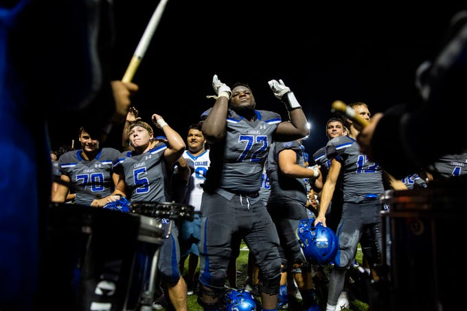 Barron Collier lineman Elkhanan Tanelus (72) dances with the drum line after their win against St. Petersburg-Lakewood at Barron Collier High School in Naples on Friday, Sept. 14, 2018.
