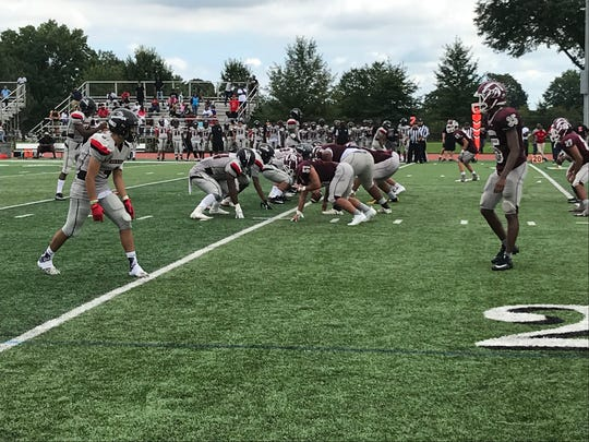 Kennedy (left) and Clifton (right) square off in a Super Football Conference Liberty Red Division game on Saturday, Sept. 15, 2018 at Clifton Stadium.
