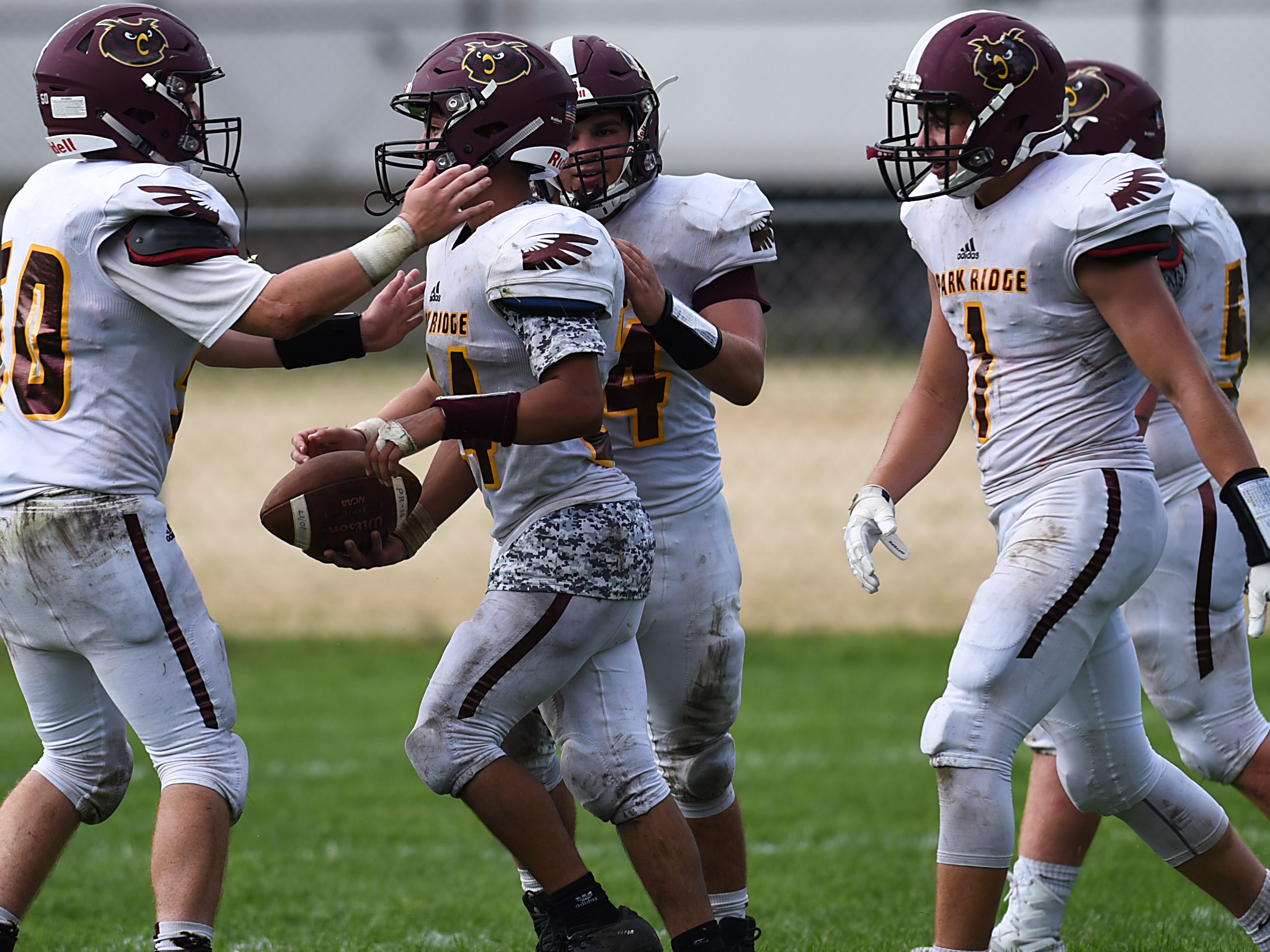 High school football game between Park Ridge and St. Mary at Tamblyn Field in Rutherford on Saturday September 15, 2018. (From left) PR#50 Ryan Misciagna, PR#24 Raman Marcus, PR#4 Vincent Pinto, PR#1 Brendan Hughes and PR#52 Dylan Conkling celebrate.