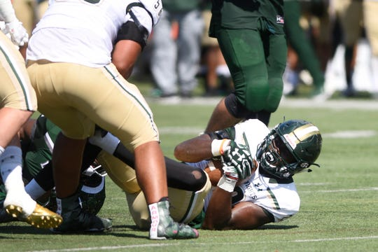 St. Joe's at DePaul on Saturday, September 15, 2018. SJ #22 Smith Vilbert after recovering a fumble in the second quarter.