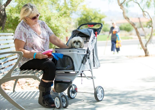 Kathie Jeter has her dog Sadie, 6, in a stroller as they both attend the 2018 DogCruces Pet Expo on Saturday, September 15, 2018, during at the Las Cruces Convention Center.