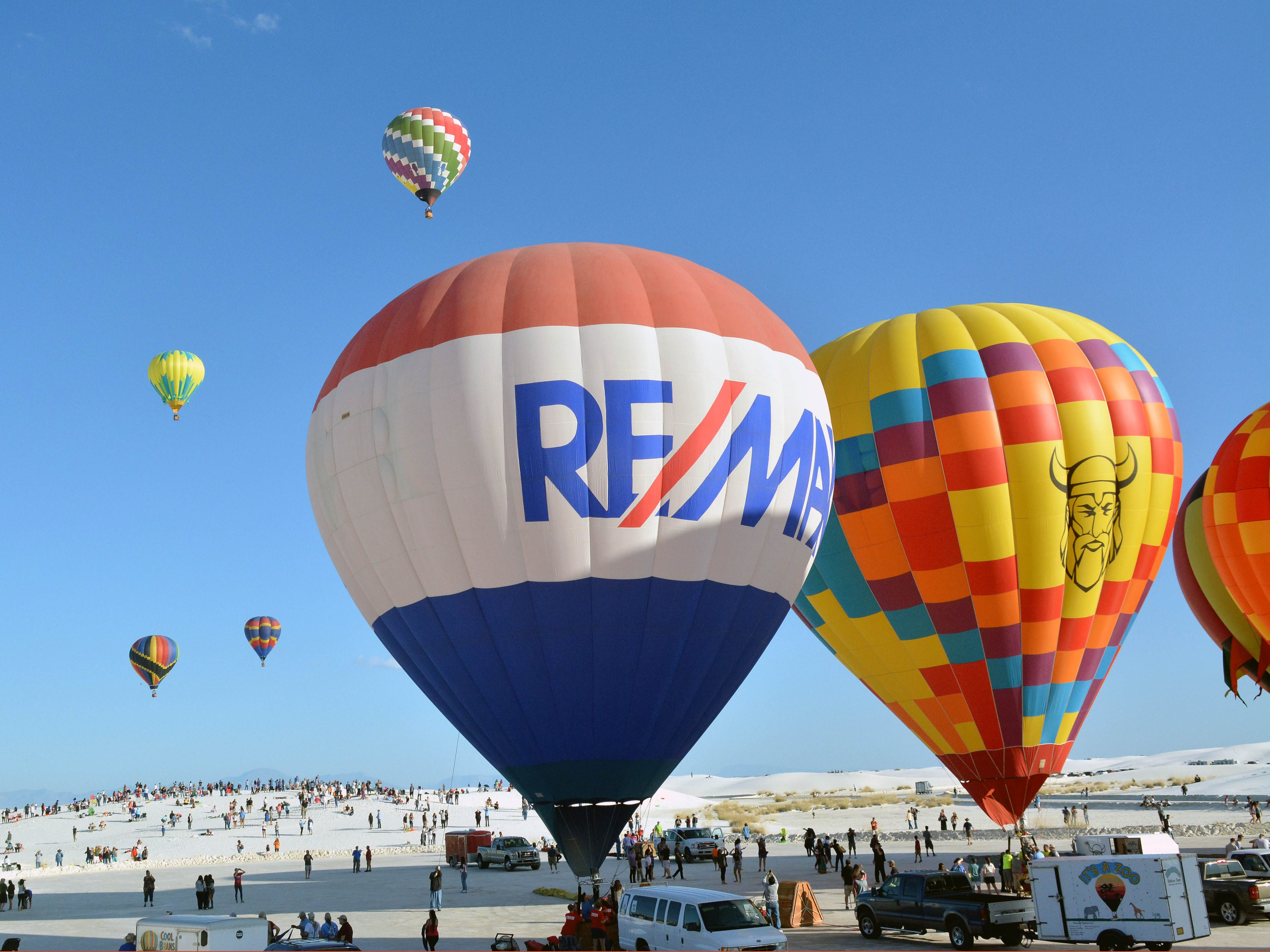 Hot air balloon begin to lift off Saturday, Sept. 15, 2018 at the White Sands Balloon Invitational.