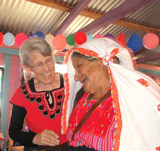 NMSU professor emeritus Christine Eber with Angélica Pérez Medio, founder of the weaving co-op Tsobol Antsetik.