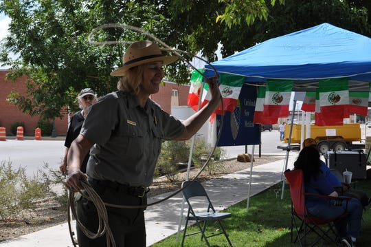 Elizabeth Jackson, a National Parks ranger with Guadalupe Mountains National Park, tries her hand at calf roping Sep. 15 during Heritage Fest at the Halagueno Arts Park.