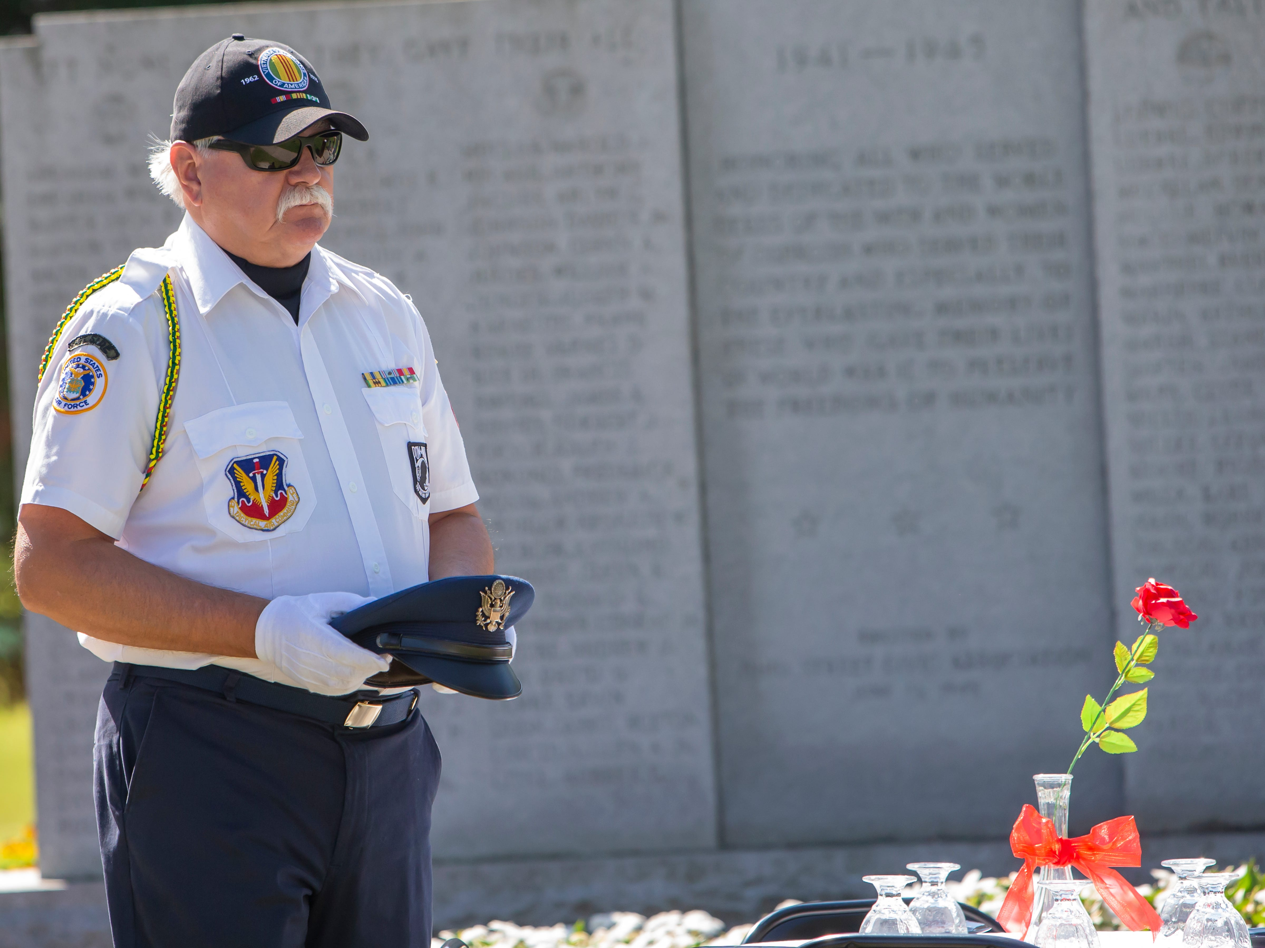 Retired Bruce Williams represents the Marines during the annual POW MIA Remembrance Ceremony at South Park Veterans Memorial on Saturday, September 15, 2018.