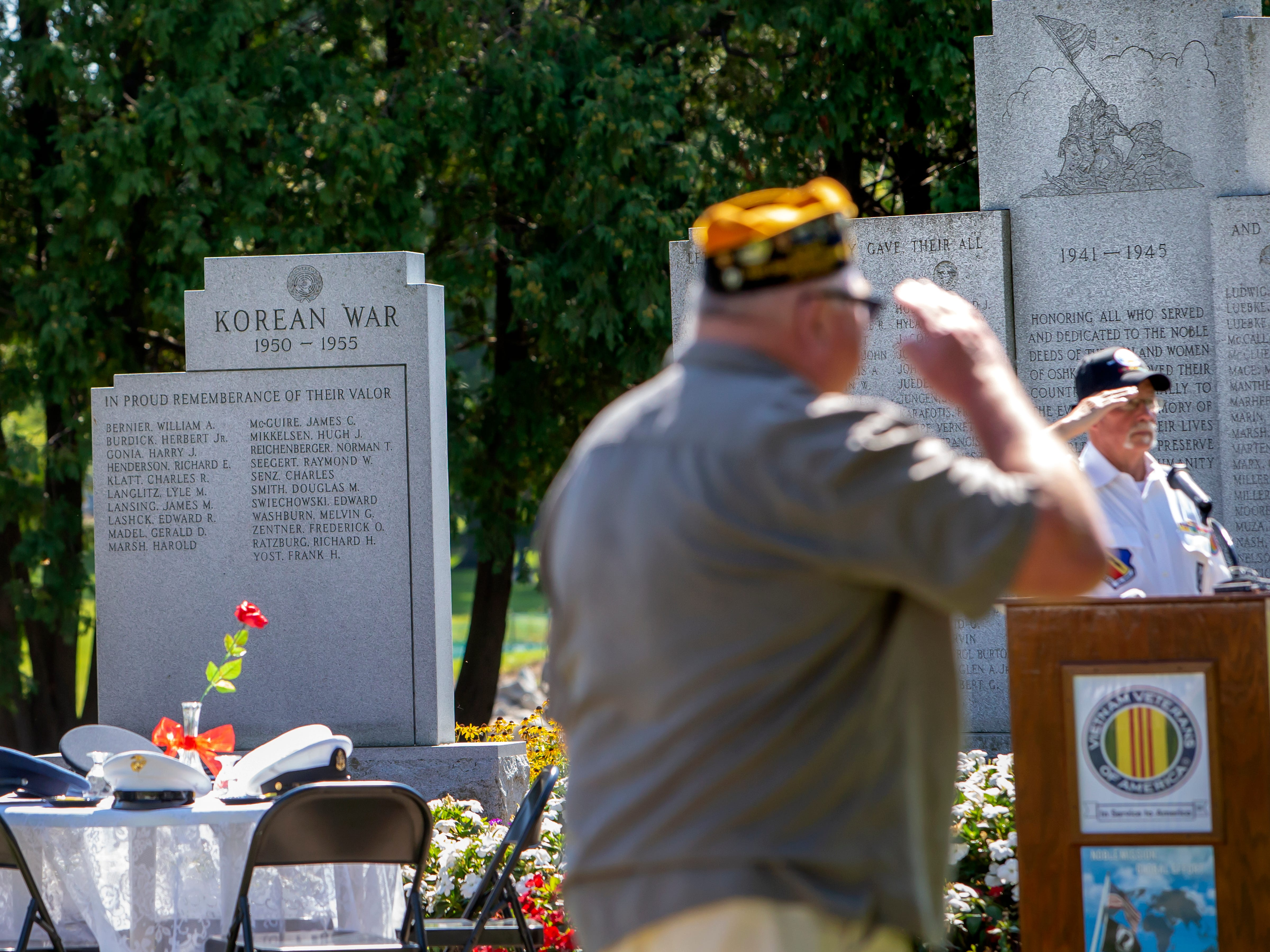People gather at South Park Veterans Memorial for the annual POW MIA Remembrance Ceremony on Saturday, September 15, 2018.