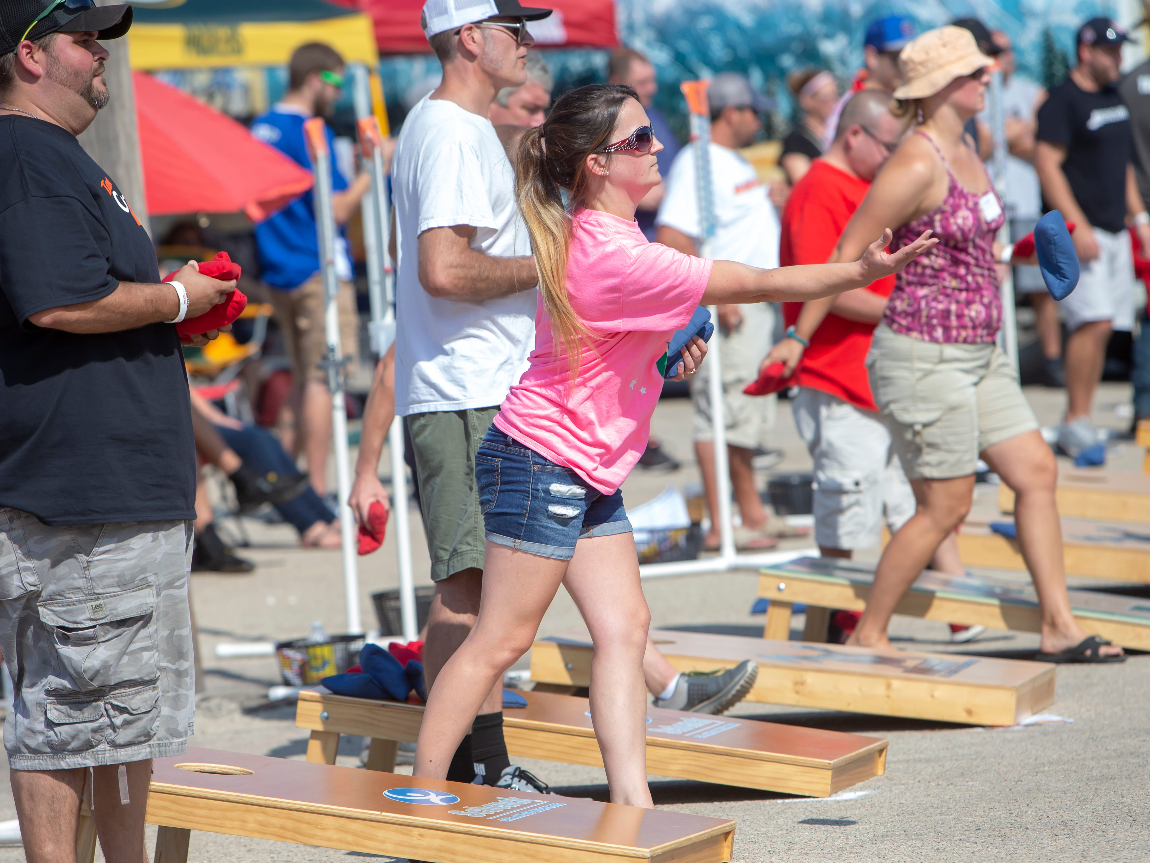 Competitors from around the state gather at Dockside Tavern in Oshkosh for the annual Wisconsin Cornhole Tourney on Saturday, Sept. 15, 2018.