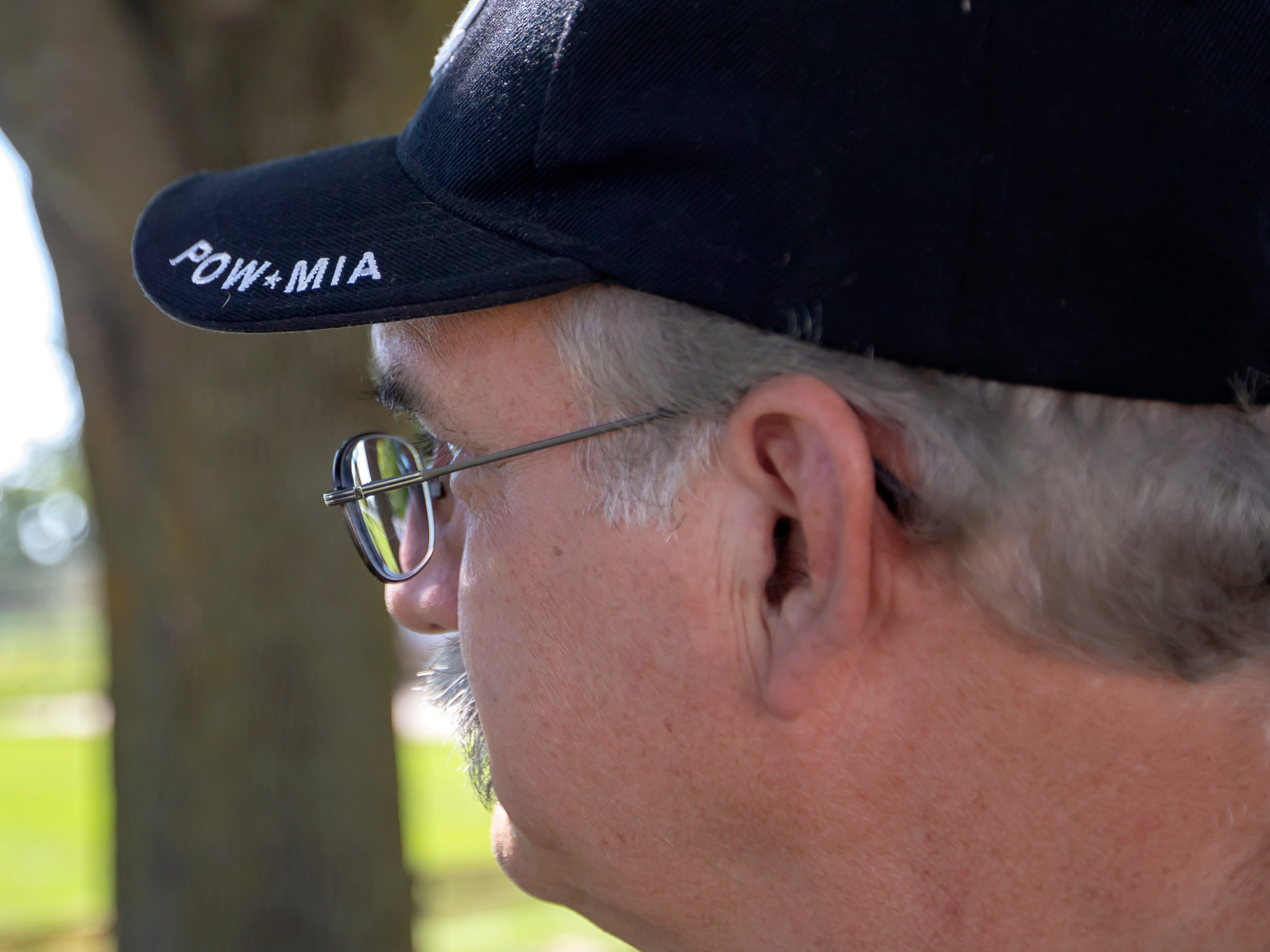 Bill Hentz watches the annual POW MIA Remembrance Ceremony at South Park Veterans Memorial Saturday, September 15, 2018, is personally touched because his cousin remains on the MIA status .