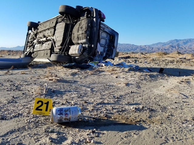 One dead in DUI roll over on Date Palm Drive.
