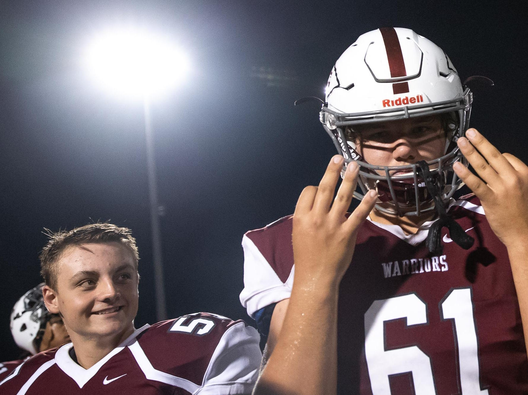 Gettysburg's Kaleb Ireland (61) celebrates after winning a game against West York, Friday, Sept. 14, 2018, in Gettysburg. Gettysburg defeated West York 42-22.