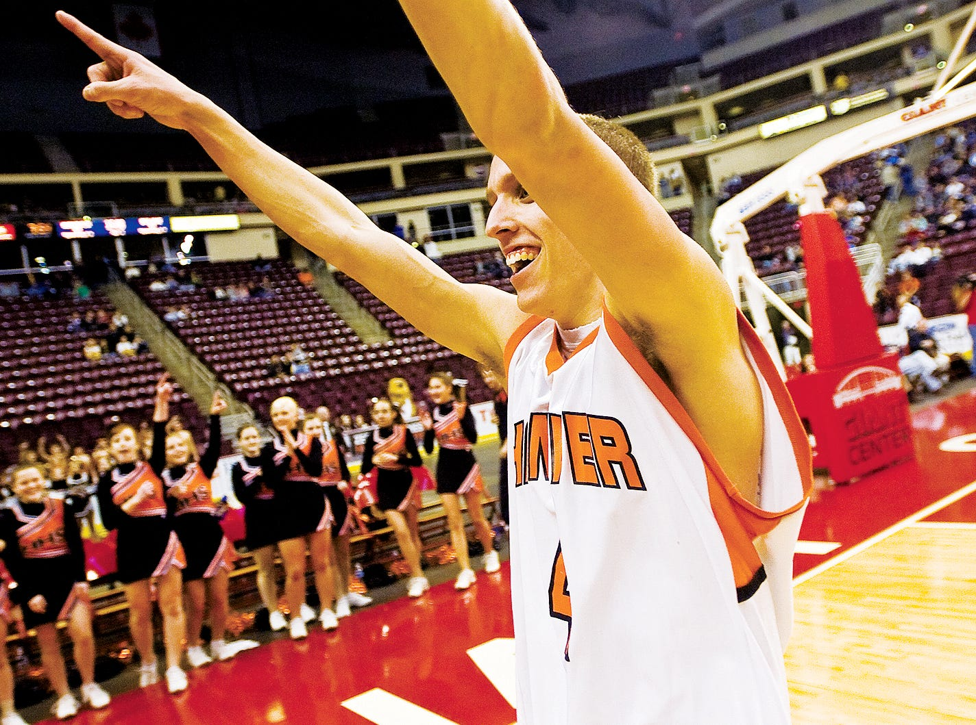In this file photo from 2011, Hanover's Pete Yingst cheers toward the crowd after the Nighthawk's secured their 54 to 51 victory over Delone Catholic during Friday night's District 3 Championship basketball game at the Giant Center in Hershey.