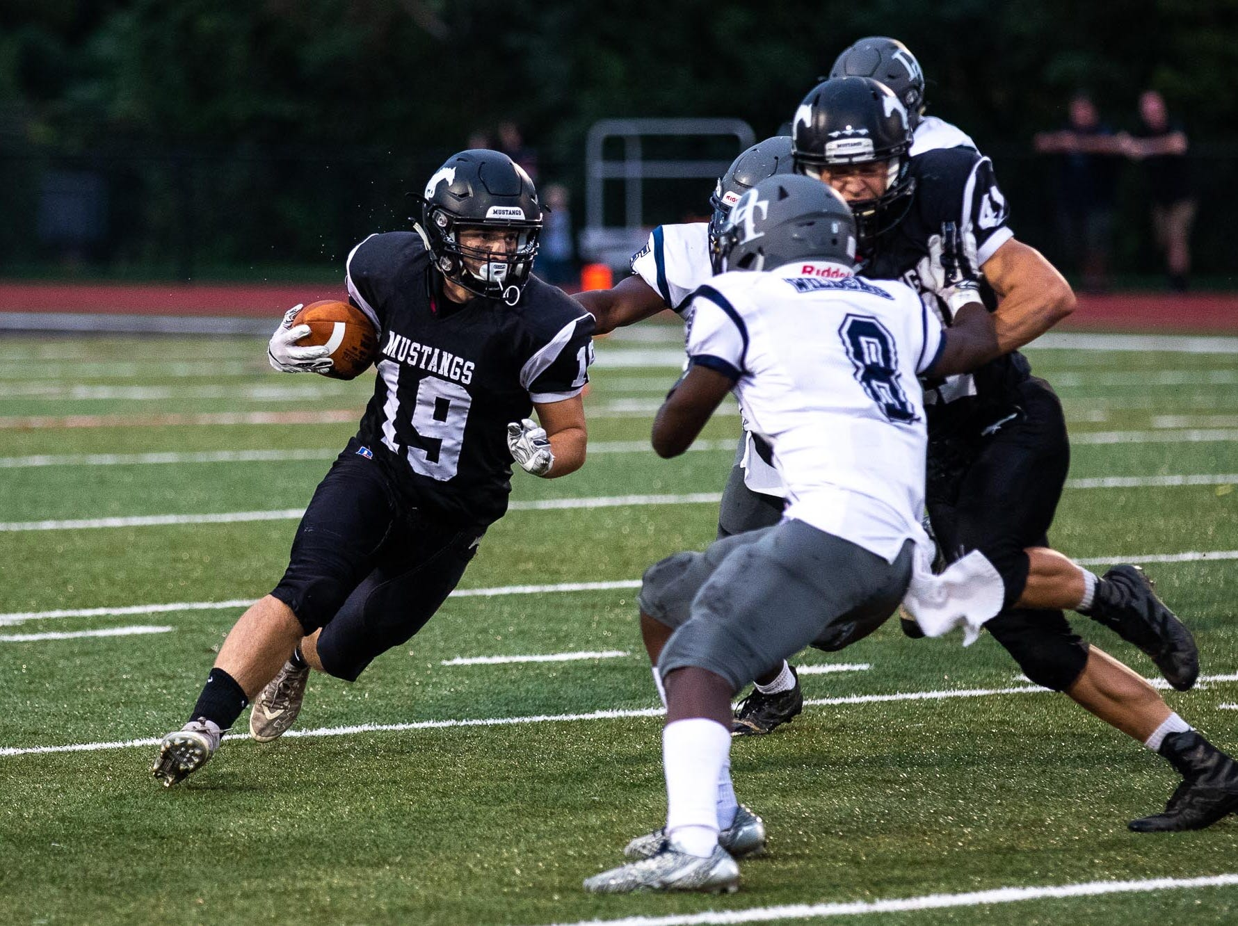 South Western's Nick Boone (19) runs the ball during a football game between South Western and Dallastown, Friday, Sept. 14, 2018, at South Western High School in Penn Township. Dallastown won, 35-7.