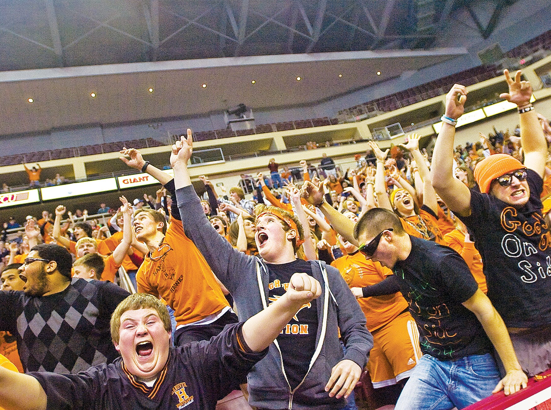 In this file photo from 2011, the Hanover High School student section reacts as the Nighthawks close in on a neck to neck final fourth period in Friday night's championship game where Hanover bested Delone Catholic 54 to 51.