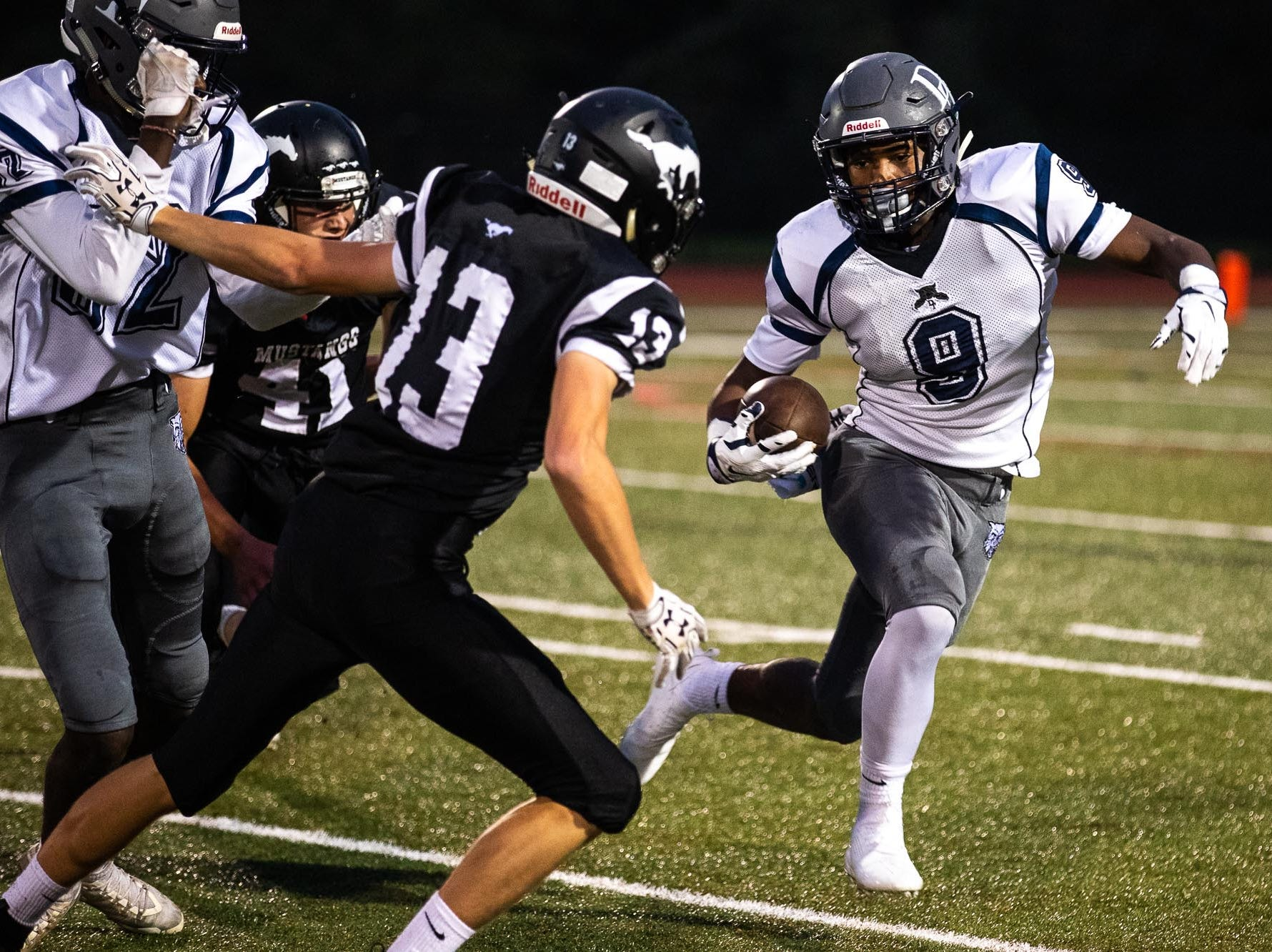 Dallastown's Nyzzair Smith (9) runs the ball during a football game between South Western and Dallastown, Friday, Sept. 14, 2018, at South Western High School in Penn Township. Dallastown won, 35-7.