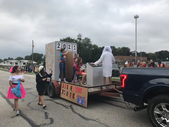 """Hanover's sophomore class danced to """"Time of My Life"""" during the homecoming parade on Friday, Sept. 14, 2018."""