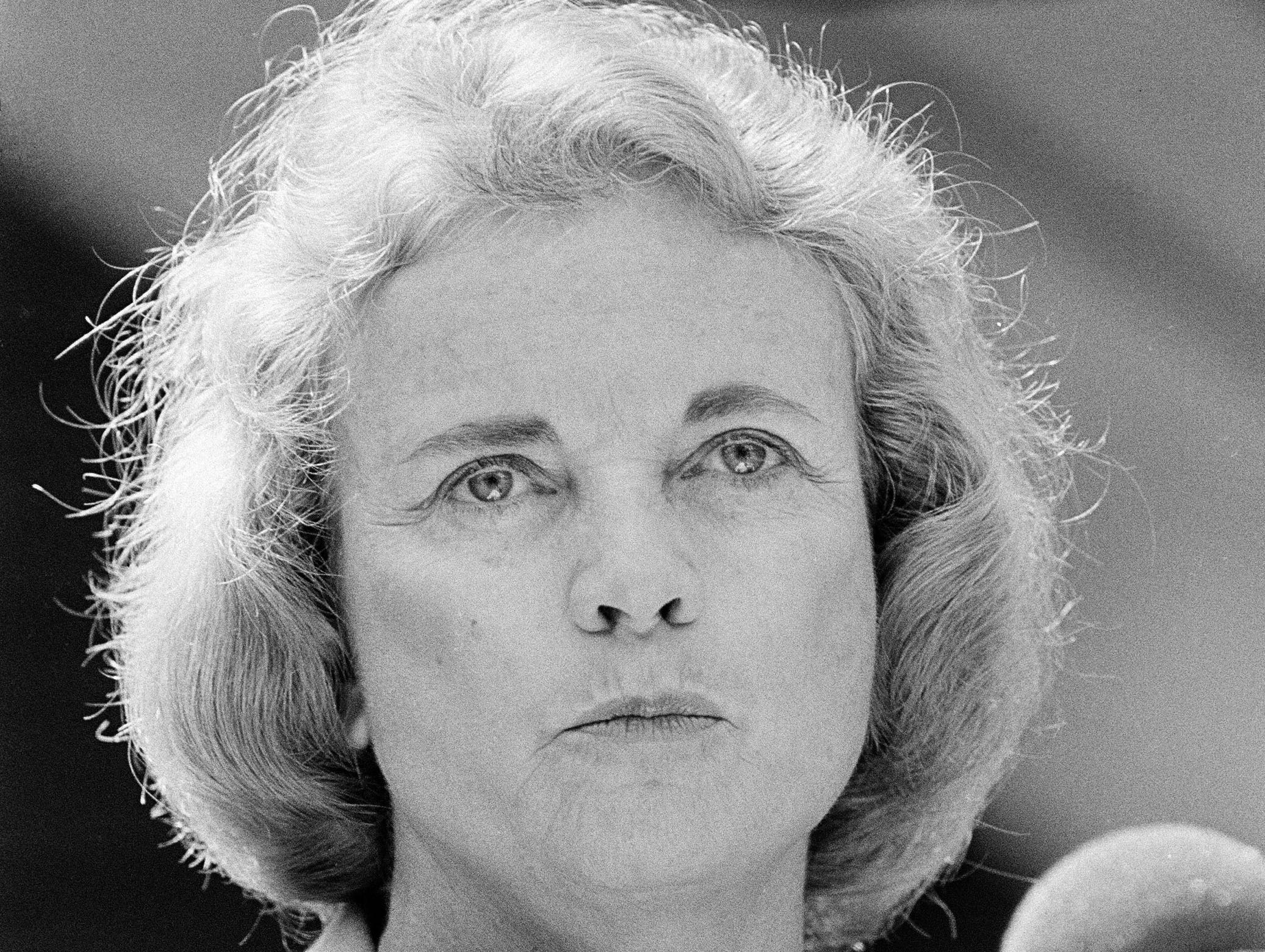 Supreme Court Justice Sandra Day O'Connor delivers the commencement address at Wheaton College, May 25, 1985.  She received an honorary degree.