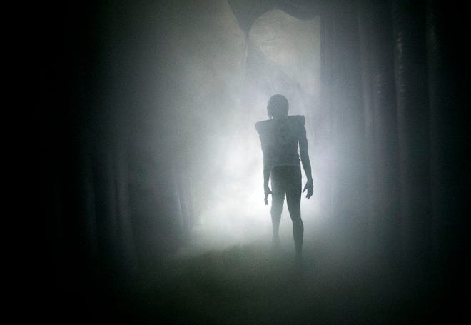 A Higley High football player takes the field from a smoke filled tunnel before the high school football game between Millennium and Higley High at Higley High in Gilbert on Friday evening, September 14, 2018.