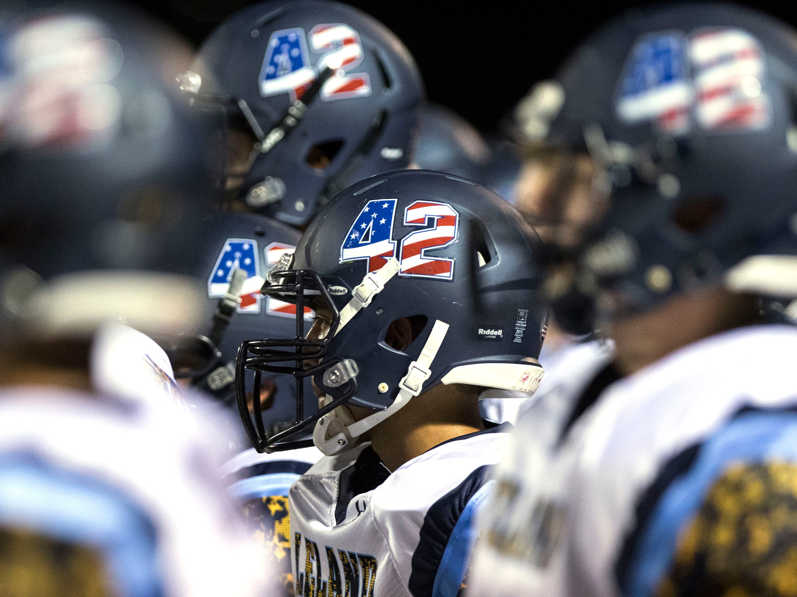 Leland's players wear #42 in honor of Pat Tillman on their helmets during their game with Liberty in Peoria Friday, Sept.14, 2018. #azhsfb