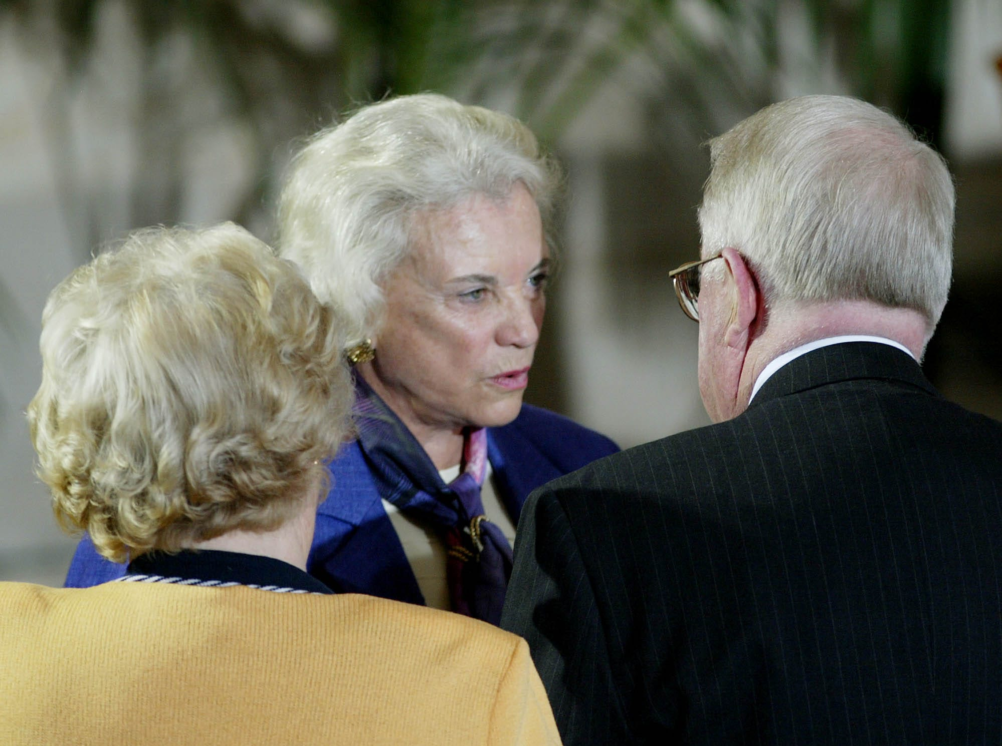 Supreme Court Justice Sandra Day O'Connor talks to Edwin Meese, attorney general in the Reagan administration,  and Meese's wife Ursula in the Rotunda on Capitol Hill on May 16, 2002, during a ceremony where the former president and Mrs. Reagan received Congressional Gold Medals.