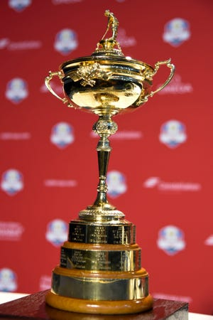 Aug 13, 2018; Saint Louis, MO, USA; Detail view of the Ryder Cup Trophy during a press conference as U.S. Team captain Jim Furyk (not pictured) officially name the eight qualifying members of the 2018 U.S. Ryder Cup team at Bellerive Country Club. Mandatory Credit: John David Mercer-USA TODAY Sports