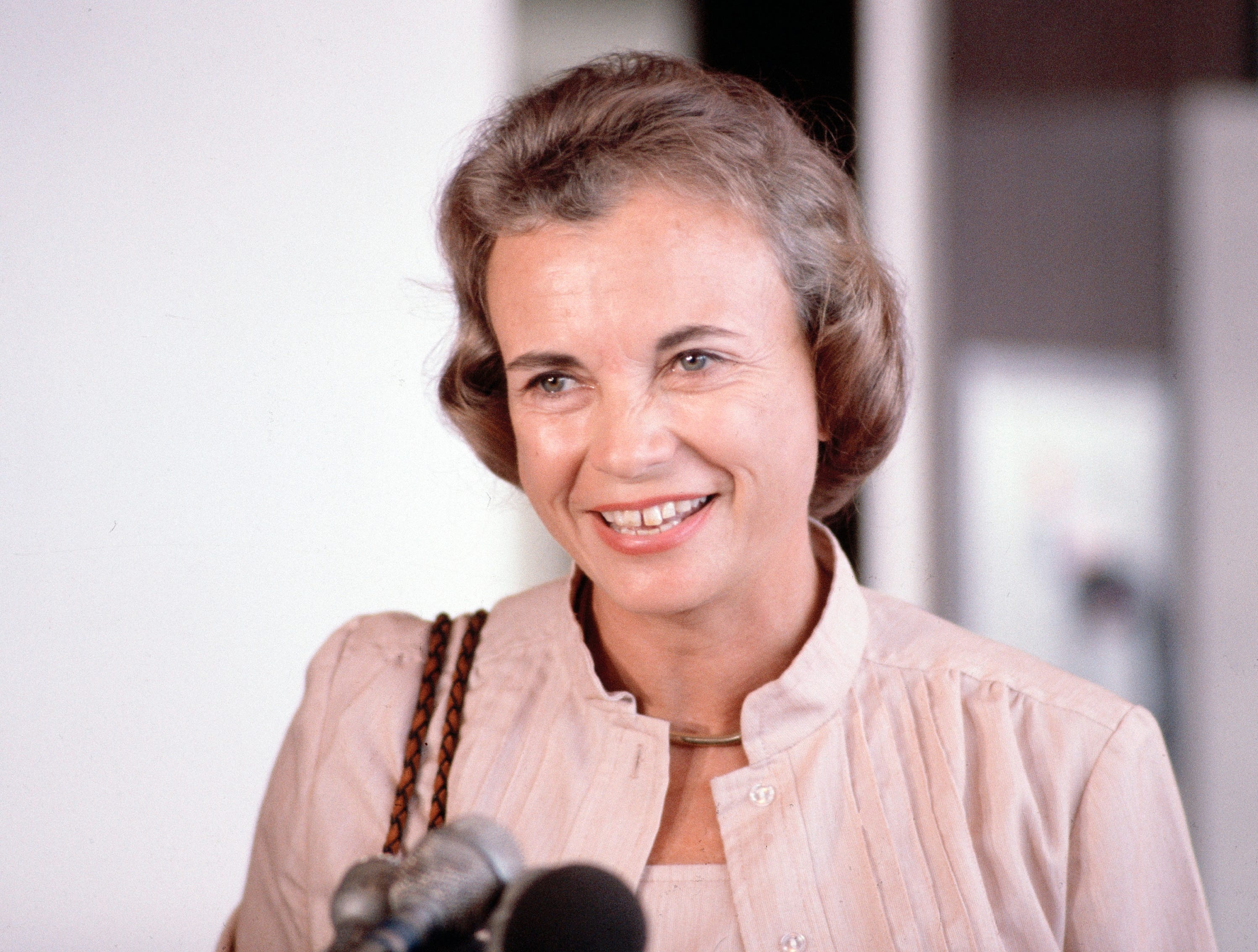 Supreme Court nominee Sandra Day O'Connor is shown on arrival at Washington National Airport, July 1981.
