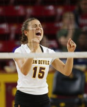 Arizona State University Halle Johnson (15) celebrates  during a women's volleyball match against Northern Arizona University at Wells Fargo Arena in Tempe on September 14, 2018.