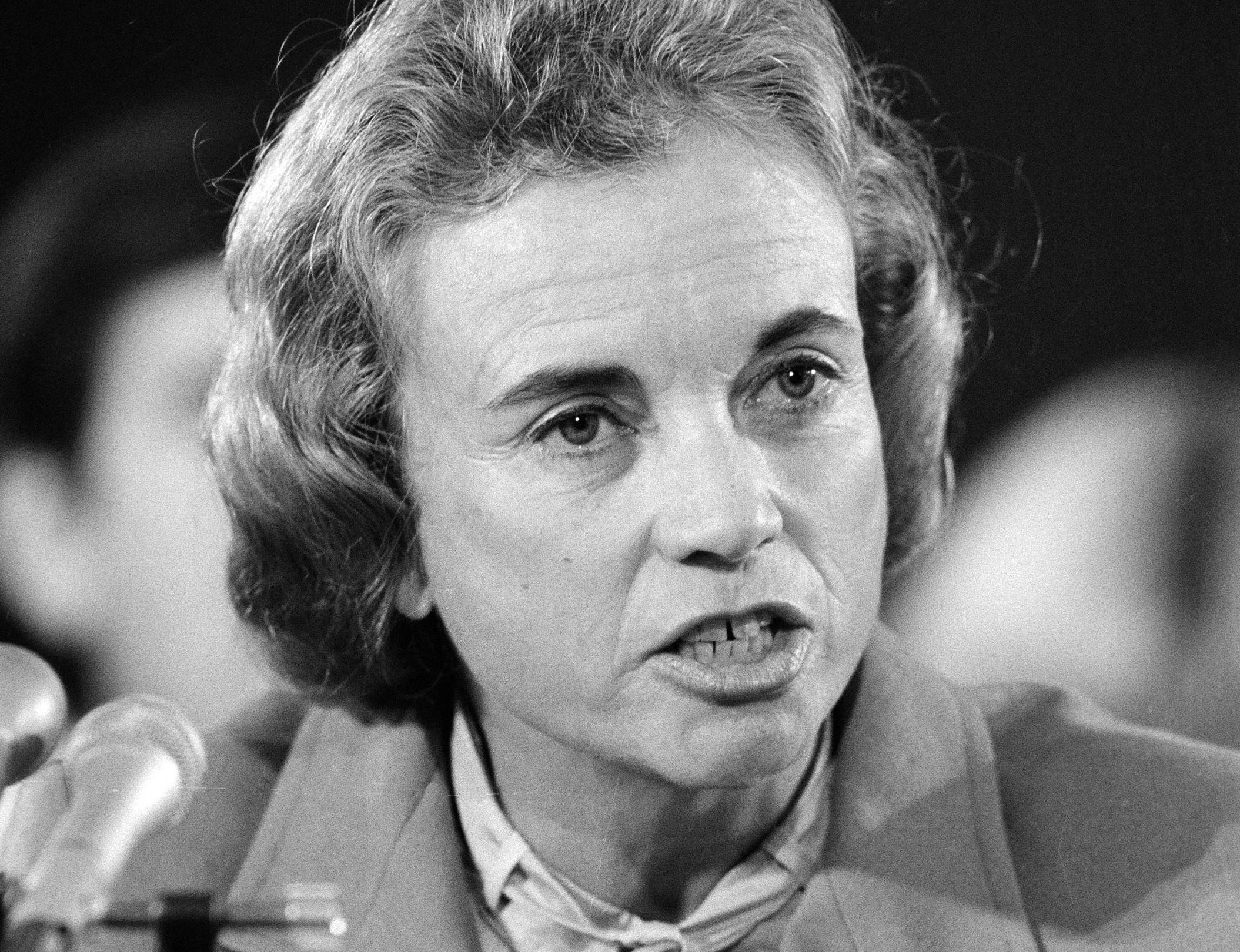 Supreme Court nominee Sandra Day O'Connor speaks while appearing  before the Senate Judiciary Committee, Sept. 9, 1981, during her confirmation hearings.