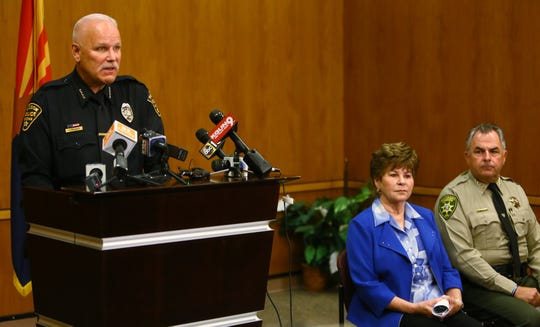 Tucson Police Chief Chris Magnus, Pima County Attorney Barbara LaWall and Pima County Sheriff Mark Napier at a press conference in Tucson on Sept. 15, 2018, to announce the indictment of Christopher Matthew Clements in connection with the deaths of Isabel Celis and Maribel Gonzalez.