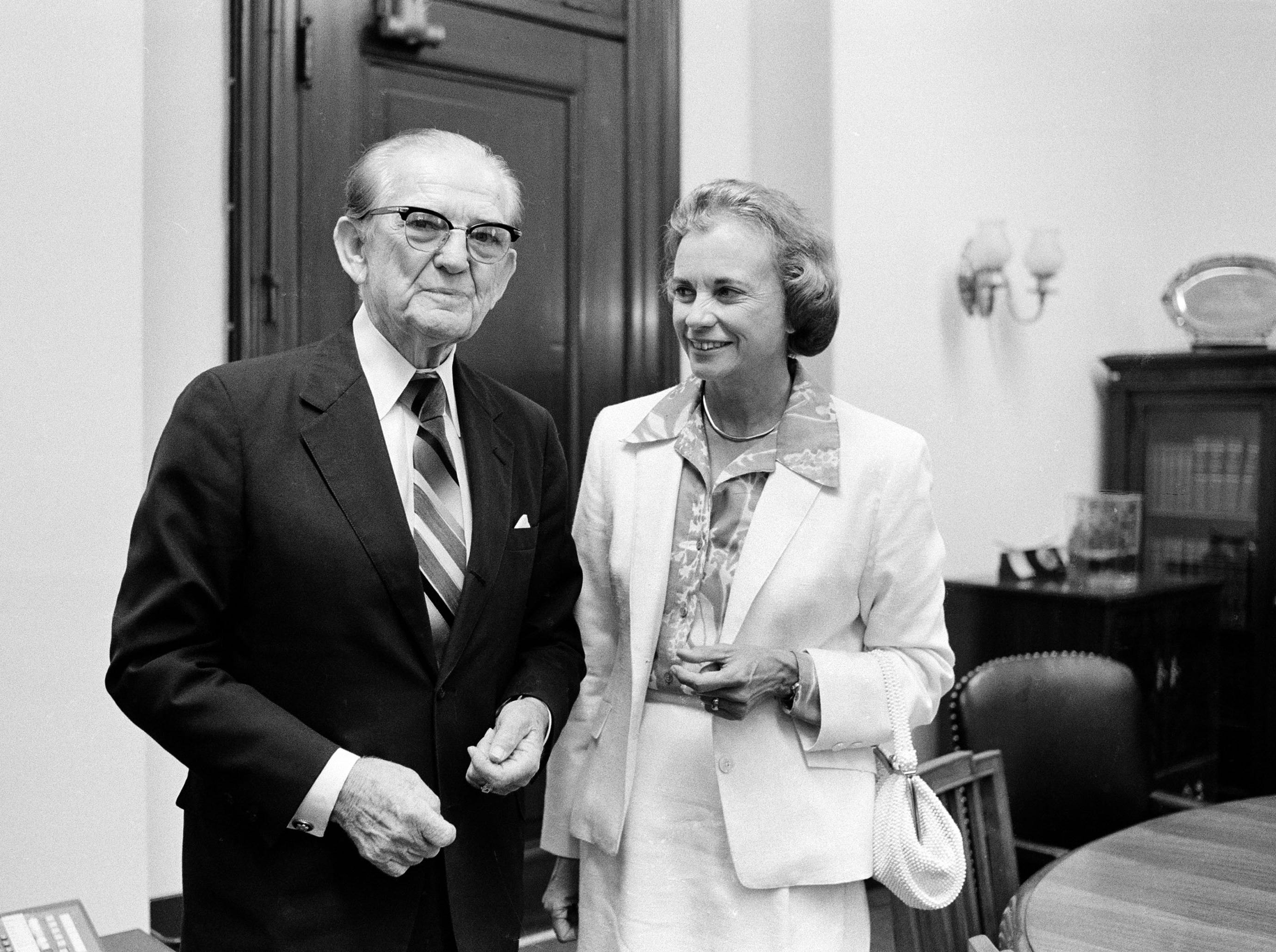 Supreme Court nominee Sandra Day O'Connor pays a visit to Sen. John Stennis, D-Miss., in his Capitol Hill office, July 16, 1981.