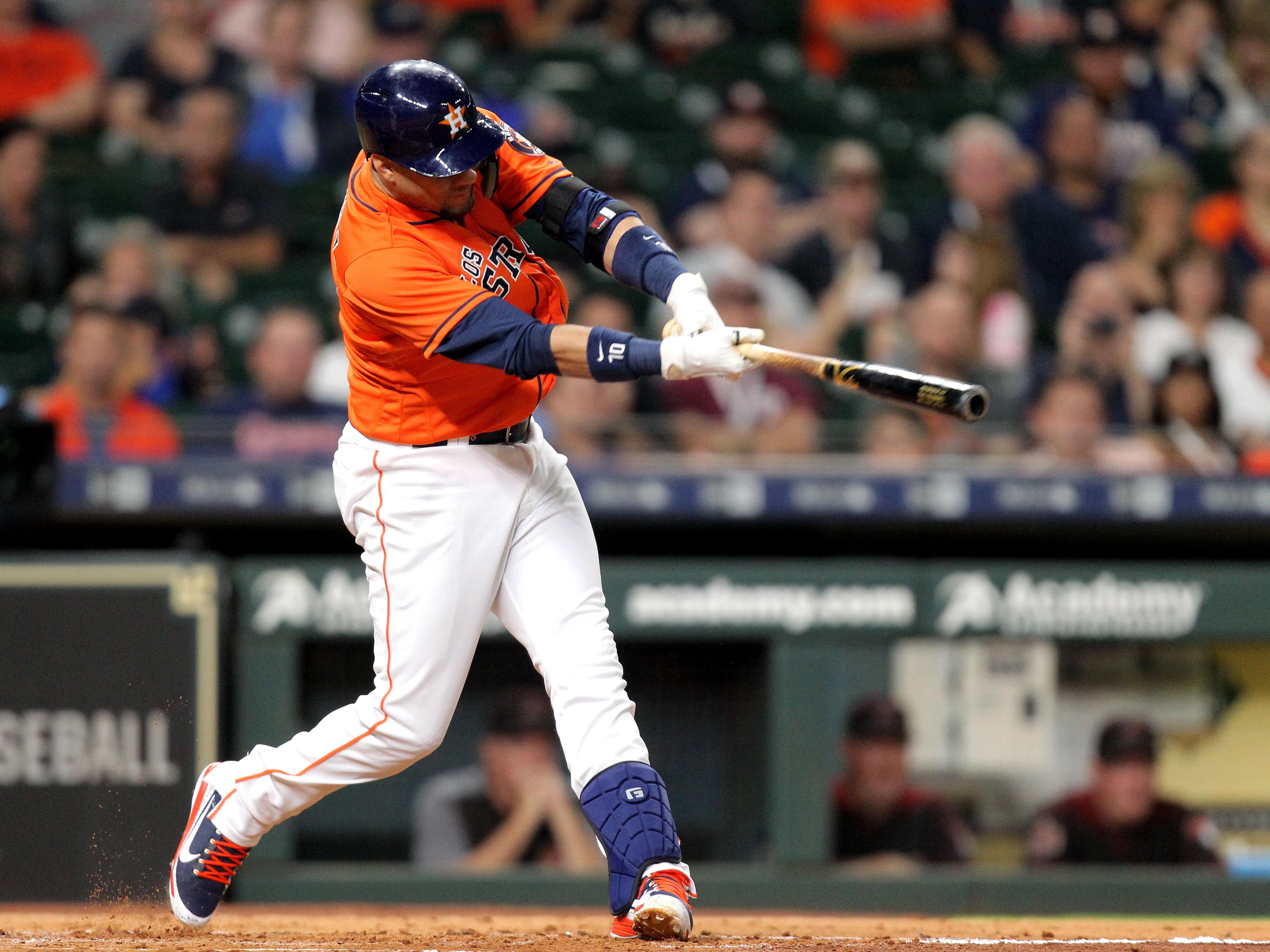 Sep 14, 2018: Houston Astros first baseman Yuli Gurriel (10) hits an RBI single to left field against the Arizona Diamondbacks during the first inning at Minute Maid Park.