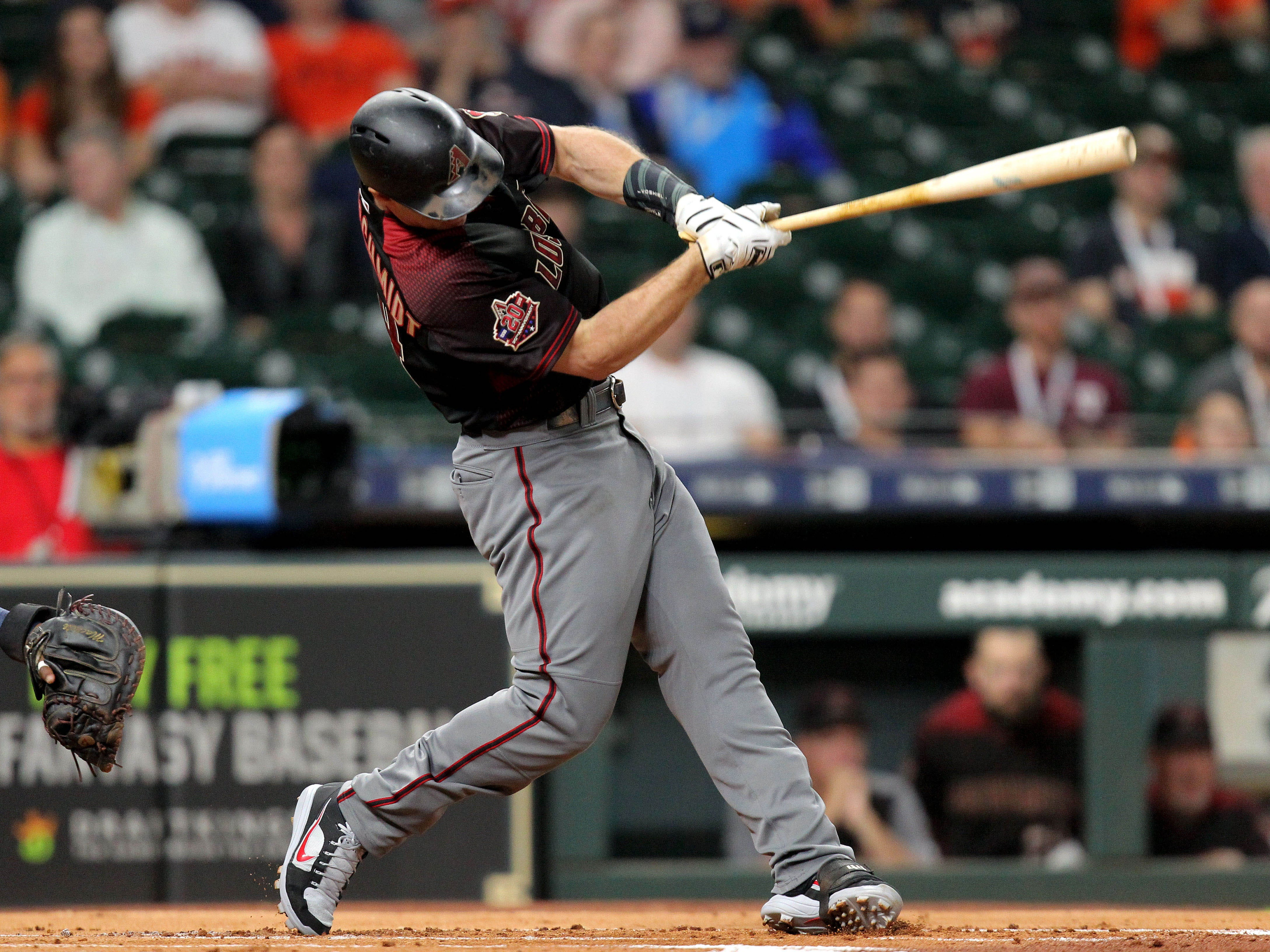 Sep 14, 2018: Arizona Diamondbacks first baseman Paul Goldschmidt (44) hits a double to left field against the Houston Astros during the first inning at Minute Maid Park.