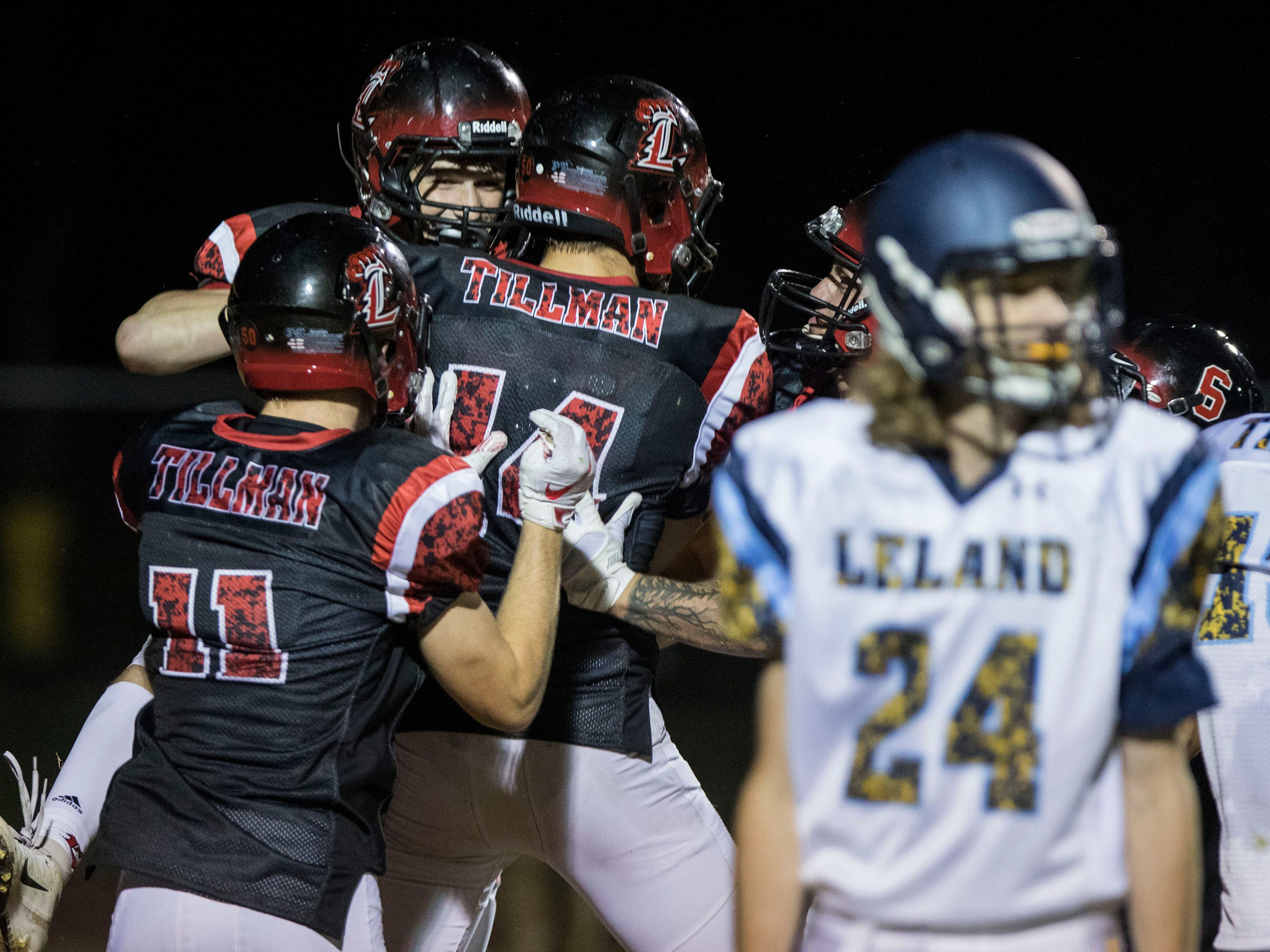 Liberty players celebrated a touchdown during their game with Leland (CA) in Peoria Friday, Sept.14, 2018. #azhsfb
