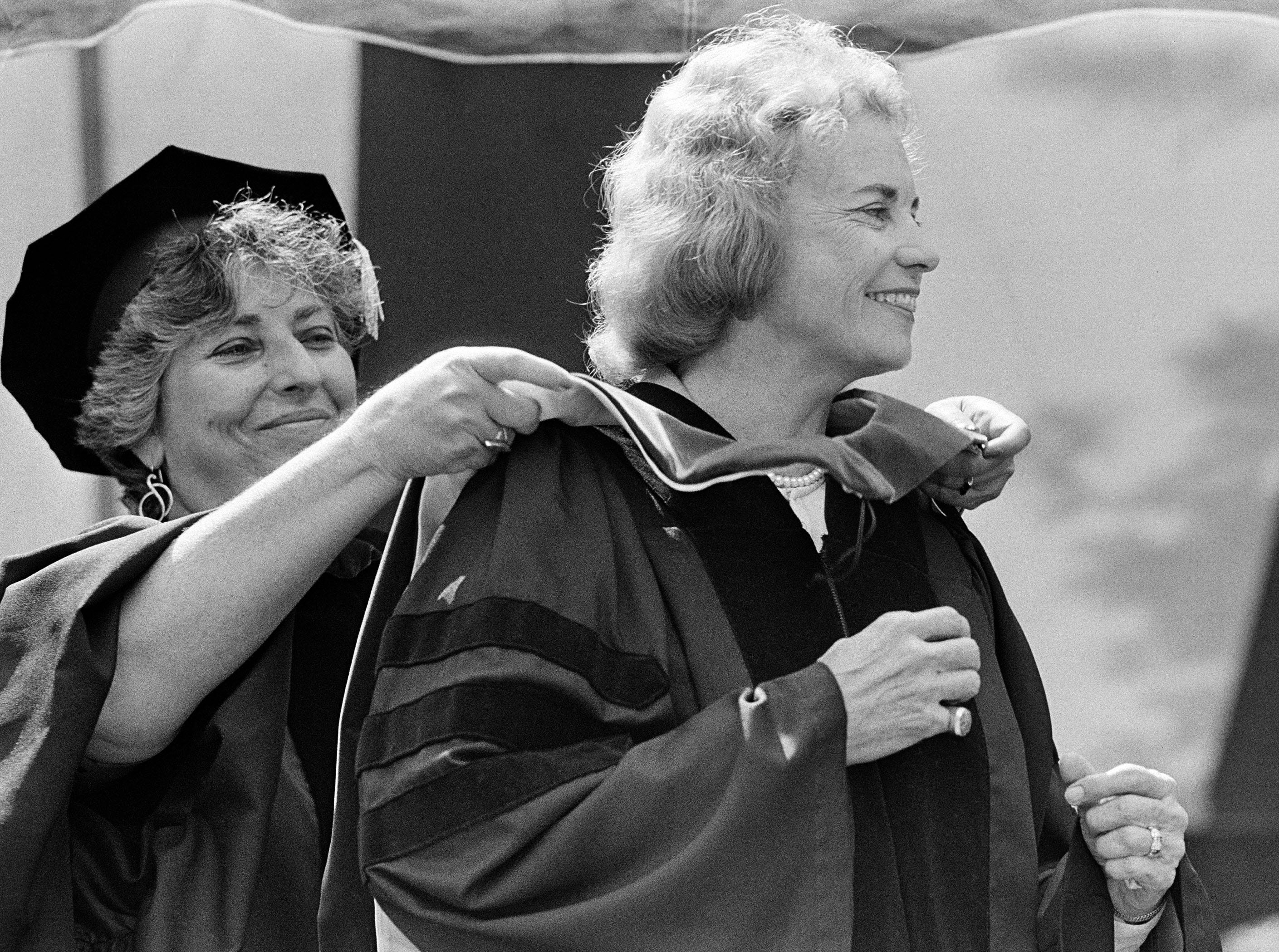 Supreme Court Justice Sandra Day O'Connor appears at Wheaton College, May 25, 1985.  She gave the commencement address and received an honorary degree.