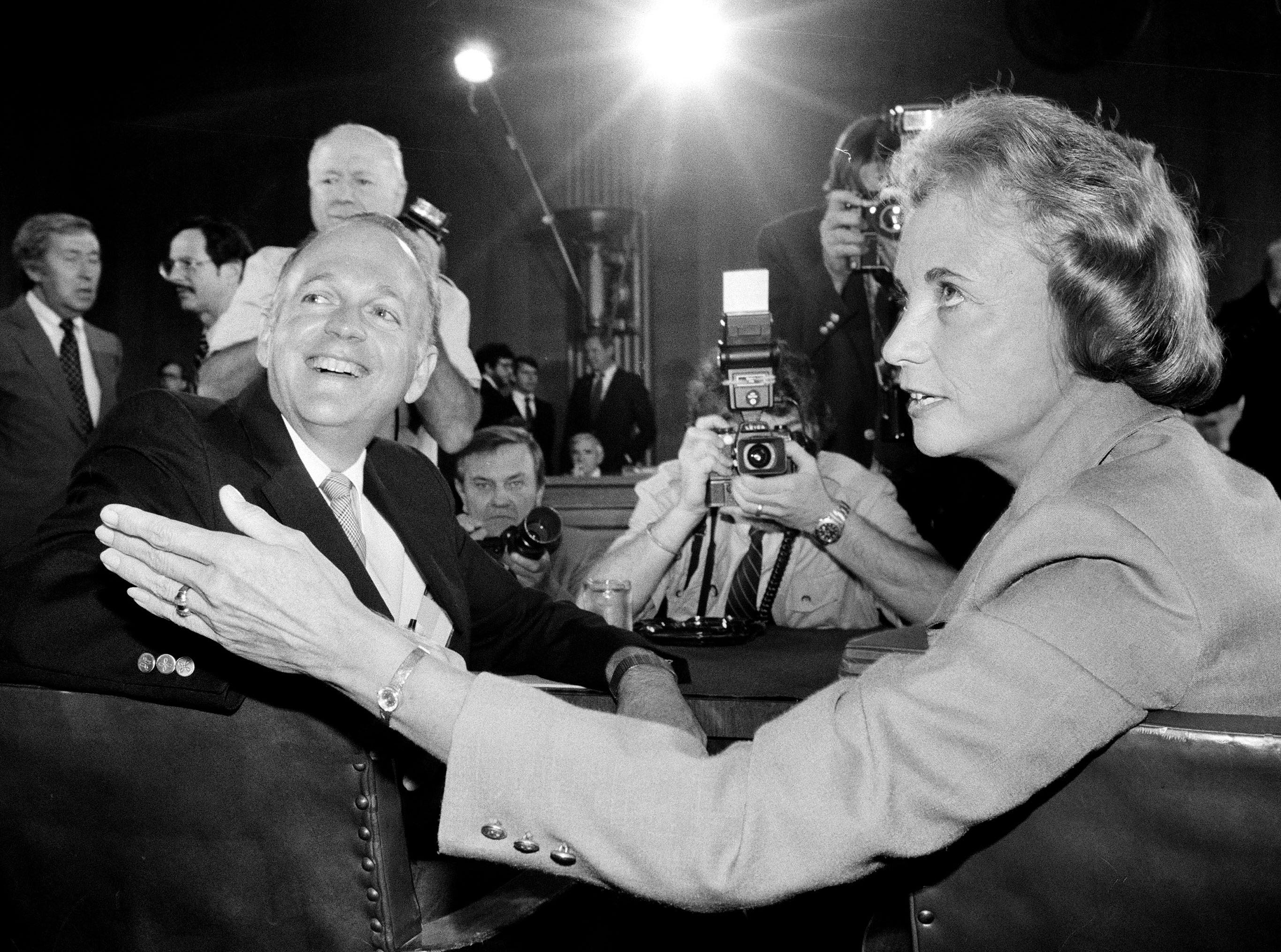 Supreme Court nominee Sandra Day O'Connor is pictured alongside Sen. Dennis DeConcini, D-Ariz., prior to the opening of her confirmation hearings, Sept. 9, 1981, on Capitol Hill before the Senate Judiciary Committee.