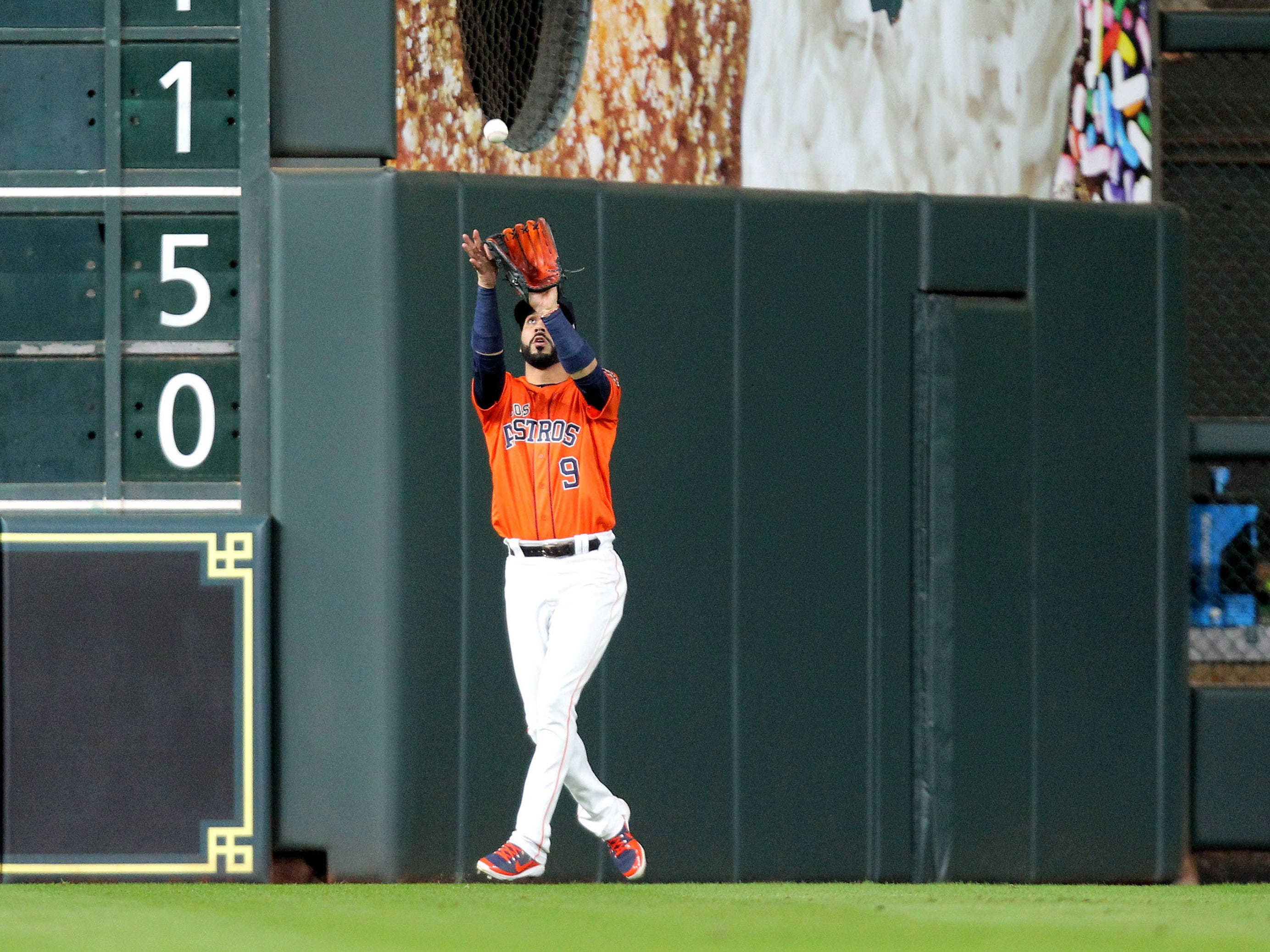 Sep 14, 2018: Houston Astros left fielder Marwin Gonzalez (9) catches a fly ball for an out to retire the side against the Arizona Diamondbacks during the fourth inning at Minute Maid Park.