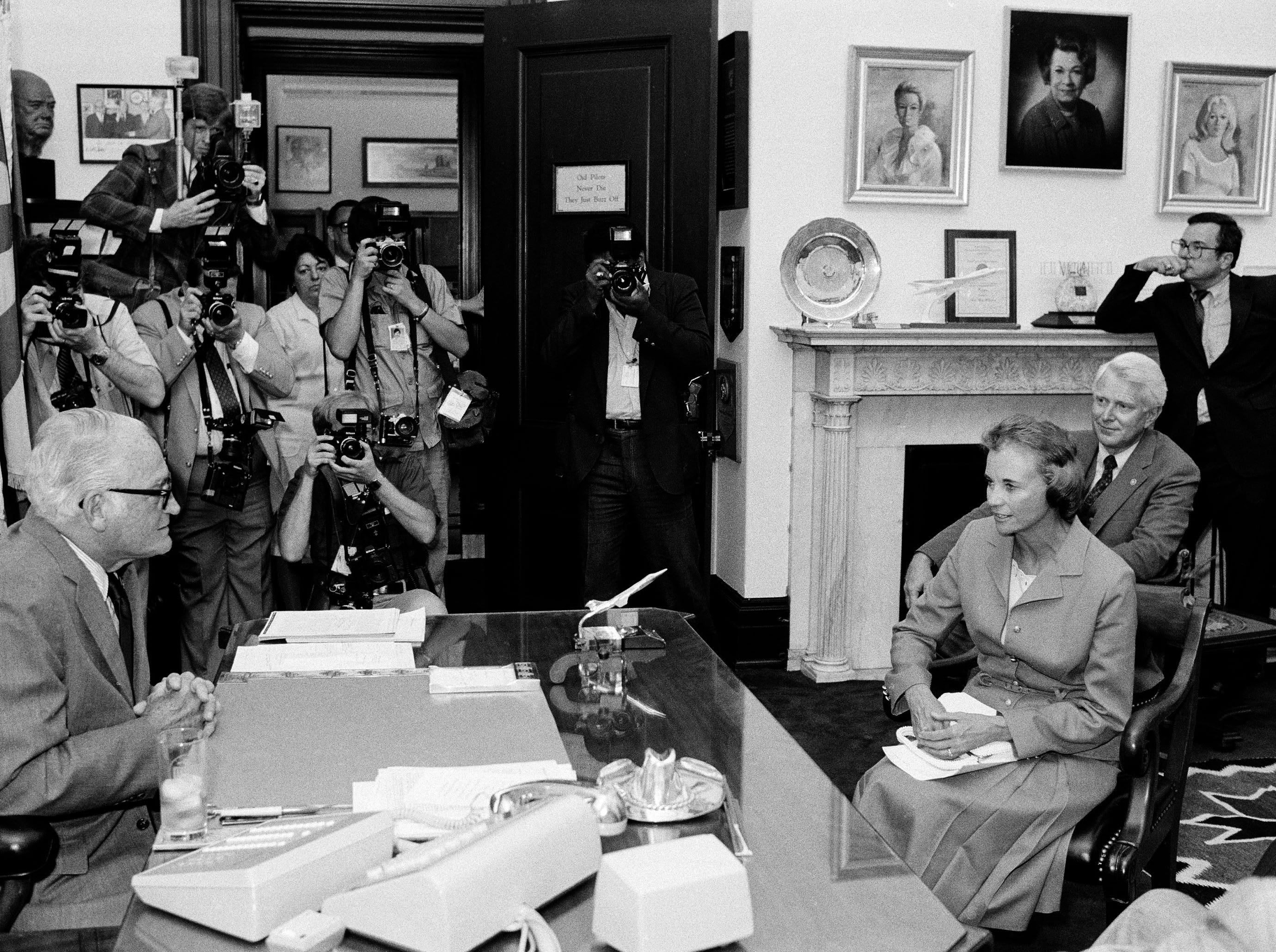 Supreme Court nominee Sandra Day O'Connor sits across the desk from Sen. Barry Goldwater, R-Ariz., in his Capitol Hill office, July 15, 1981.