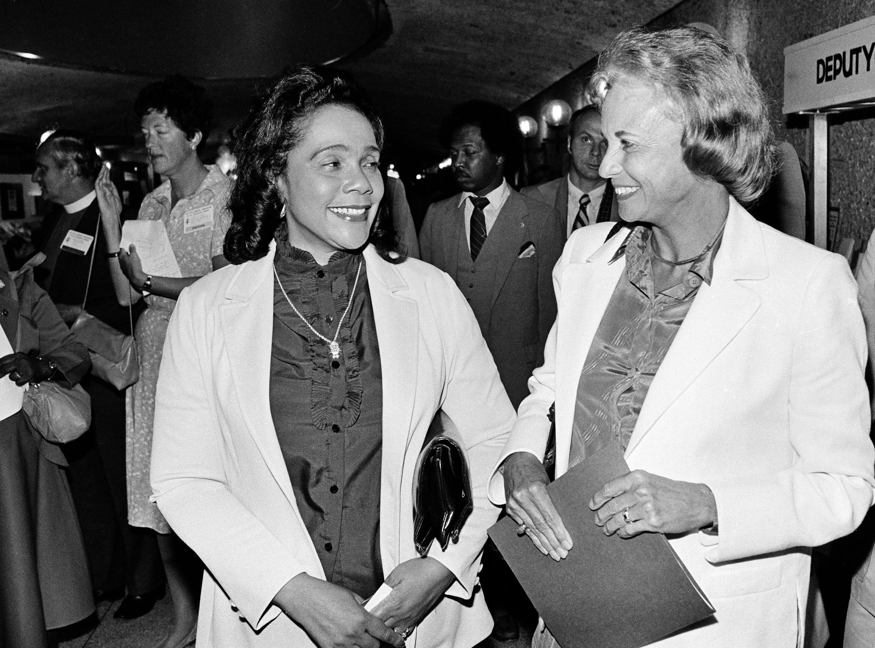 U.S. Supreme Court justice Sandra Day O'Connor greets Coretta Scott King, widow of the slain civil rights leader Martin Luther King, at the Episcopal Church Convention in New Orleans. Sept. 8, 1982 where they appeared on a panel.