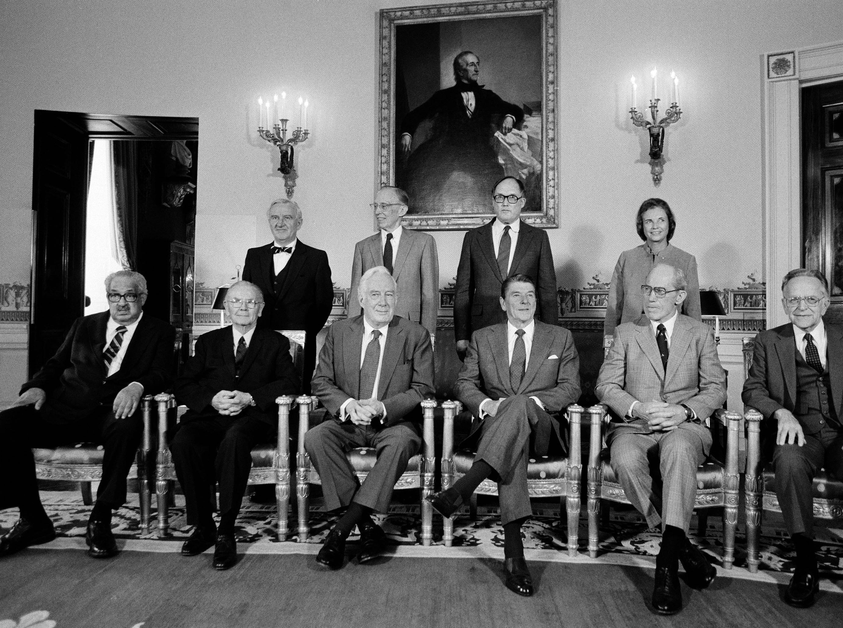 President Reagan poses with the nine members of the Supreme Court in the Blue Room of the White House, Oct. 1, 1982.  Back row from left:  Justice John Paul Stevens; Justice Lewis Powell; Justice William Rehnquist; and Justice Sandra Day O'Connor, Reagan's sole appointment to the high court.  Front row, left to right:  Justice Thurgood Marshall; Justice William Brennan Jr.; Chief Justice Warren Burger; President Reagan; Justice Byron White; and Justice Harry Blackmun.