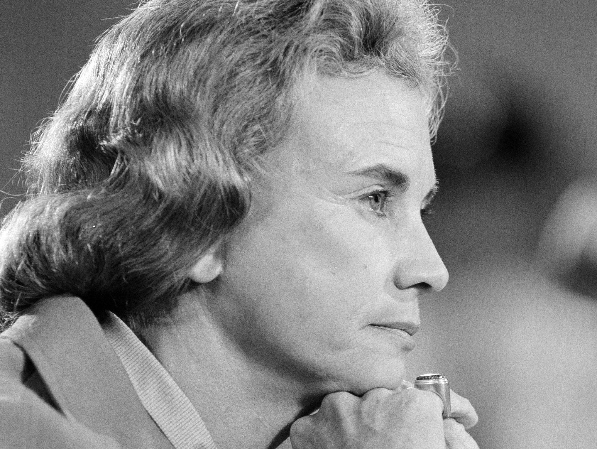 Supreme Court nominee Sandra Day O'Connor looks pensive while appearing before the Senate Judiciary Committee, Sept. 9, 1981, during her confirmation hearings.